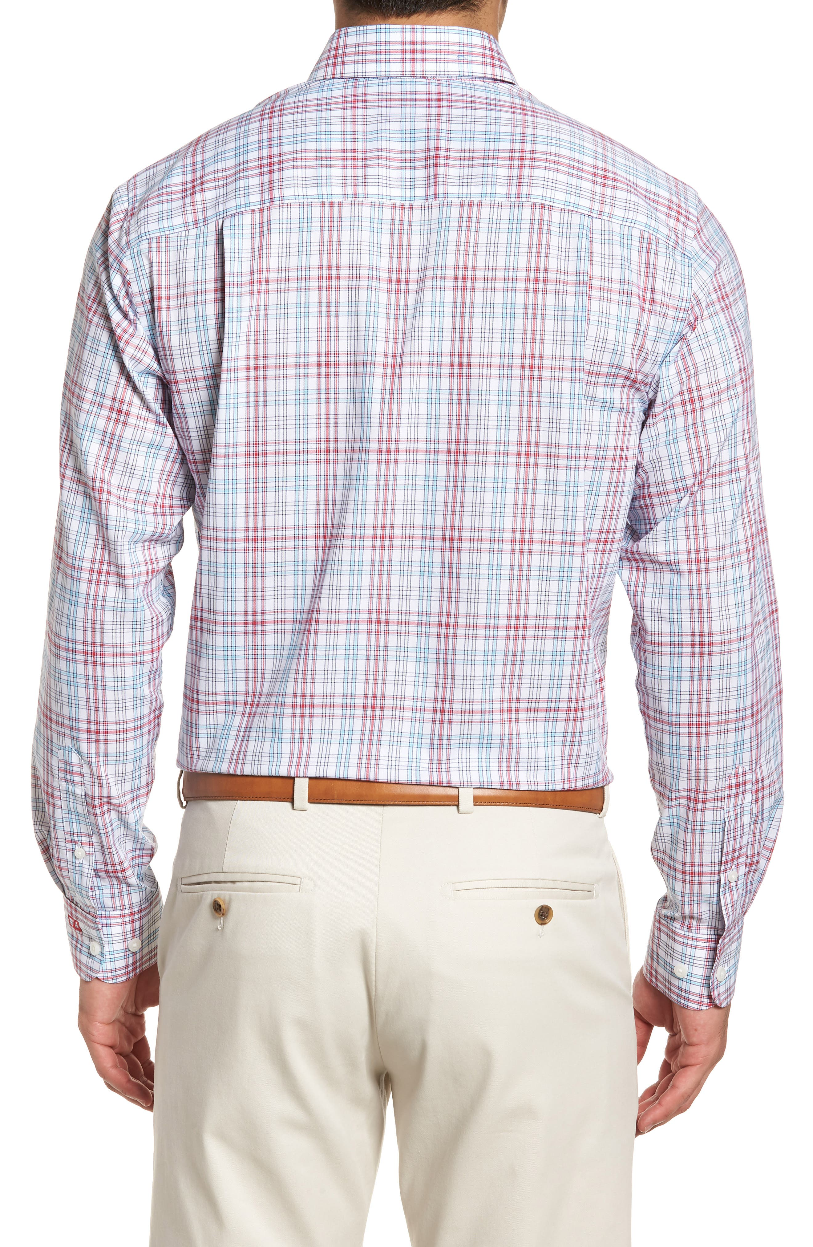 Charlie Classic Fit Easy Care Check Sport Shirt,                             Alternate thumbnail 4, color,
