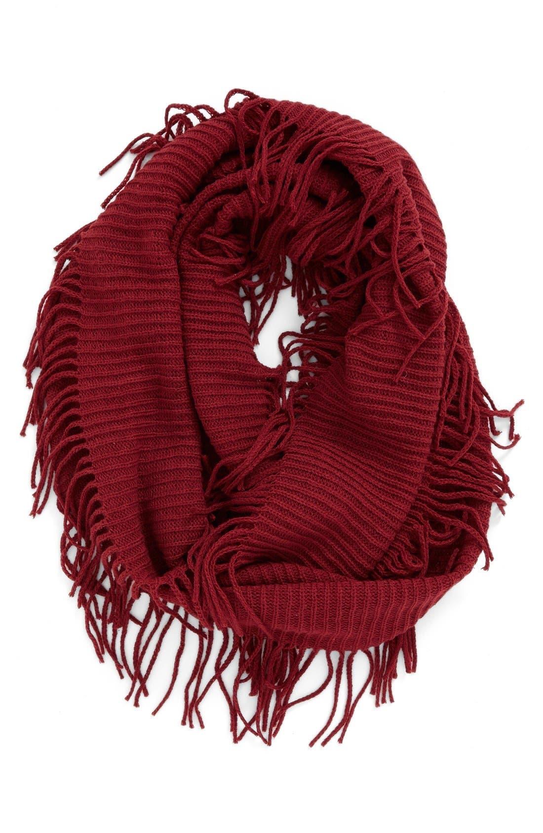 Rib Knit Fringe Infinity Scarf,                             Main thumbnail 6, color,