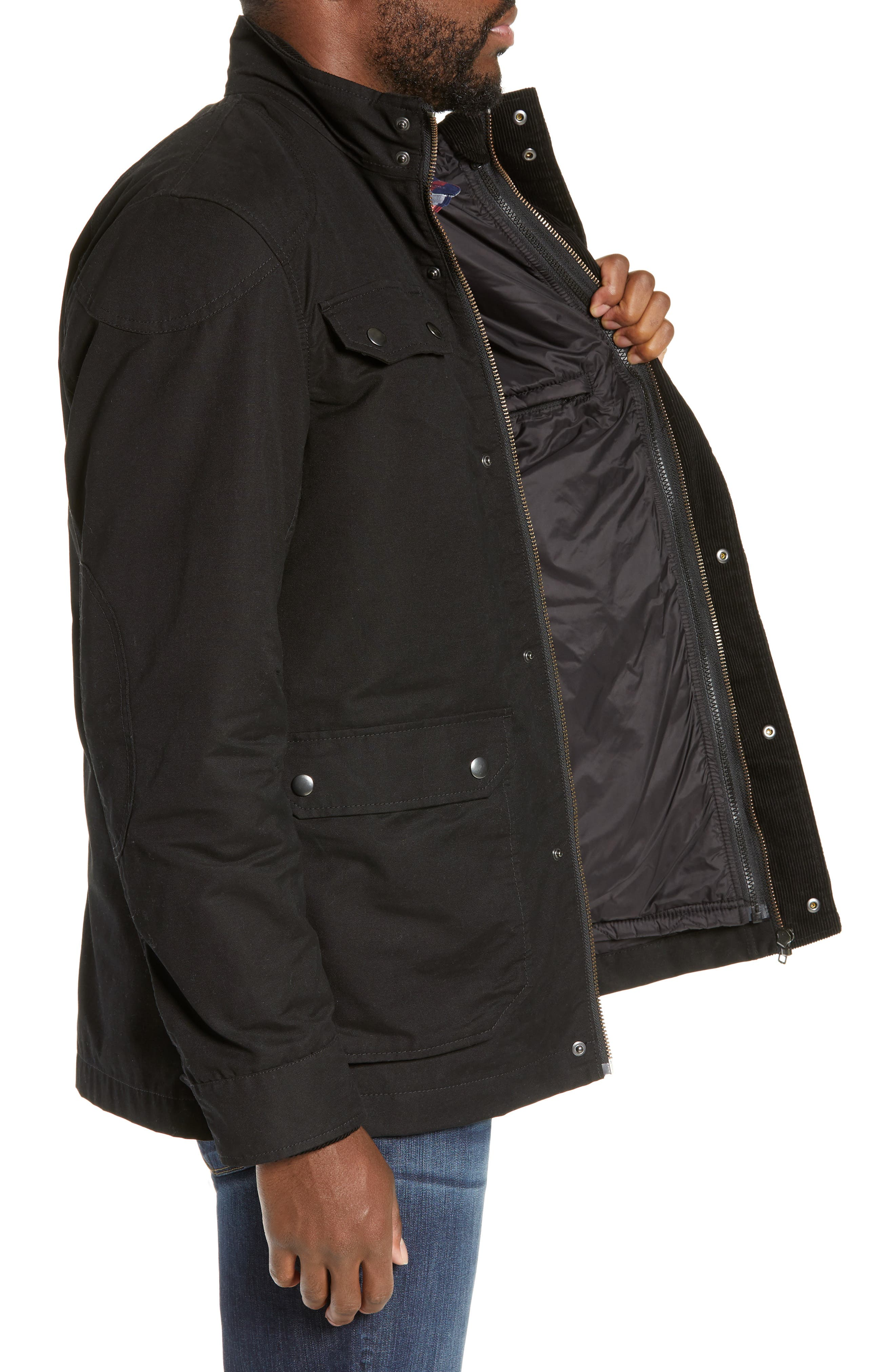 'Harper' Water Resistant 3-in-1 Waxed Canvas Jacket,                             Alternate thumbnail 4, color,                             ONYX