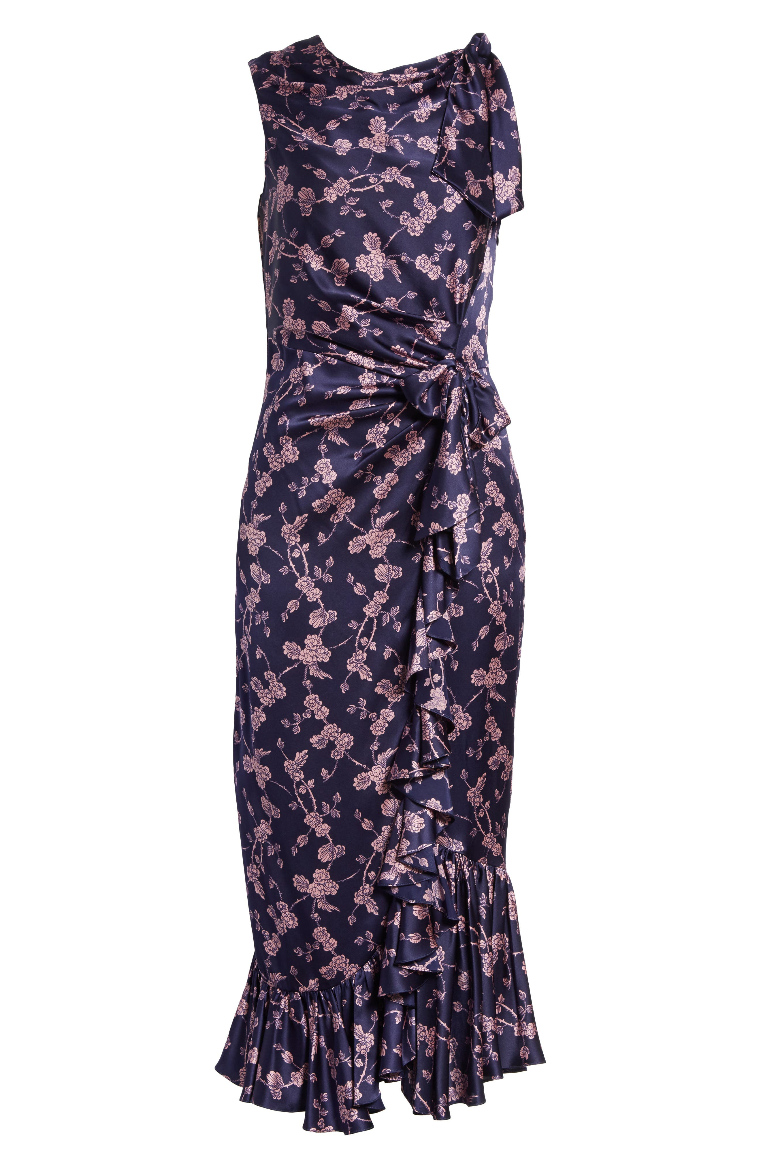 Nanon Knotted Silk Dress,                             Alternate thumbnail 6, color,                             699