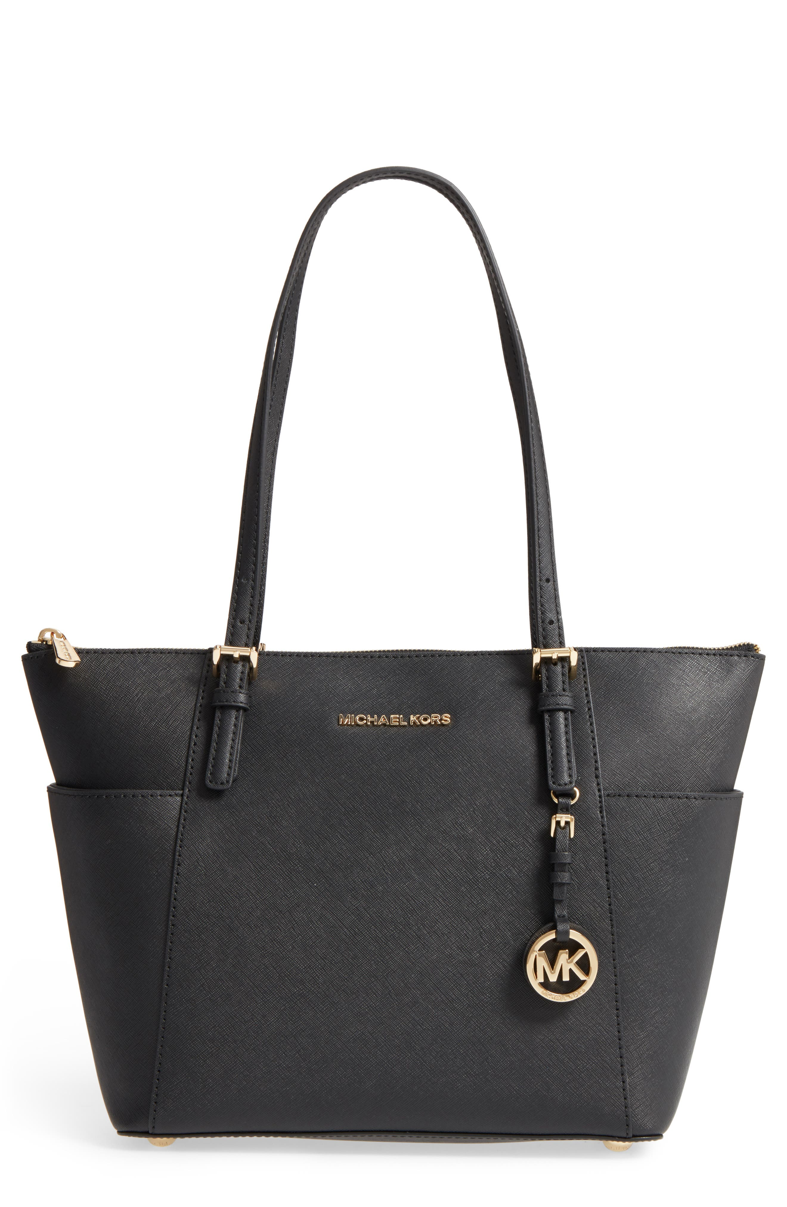 'Jet Set' Leather Tote, Main, color, 001