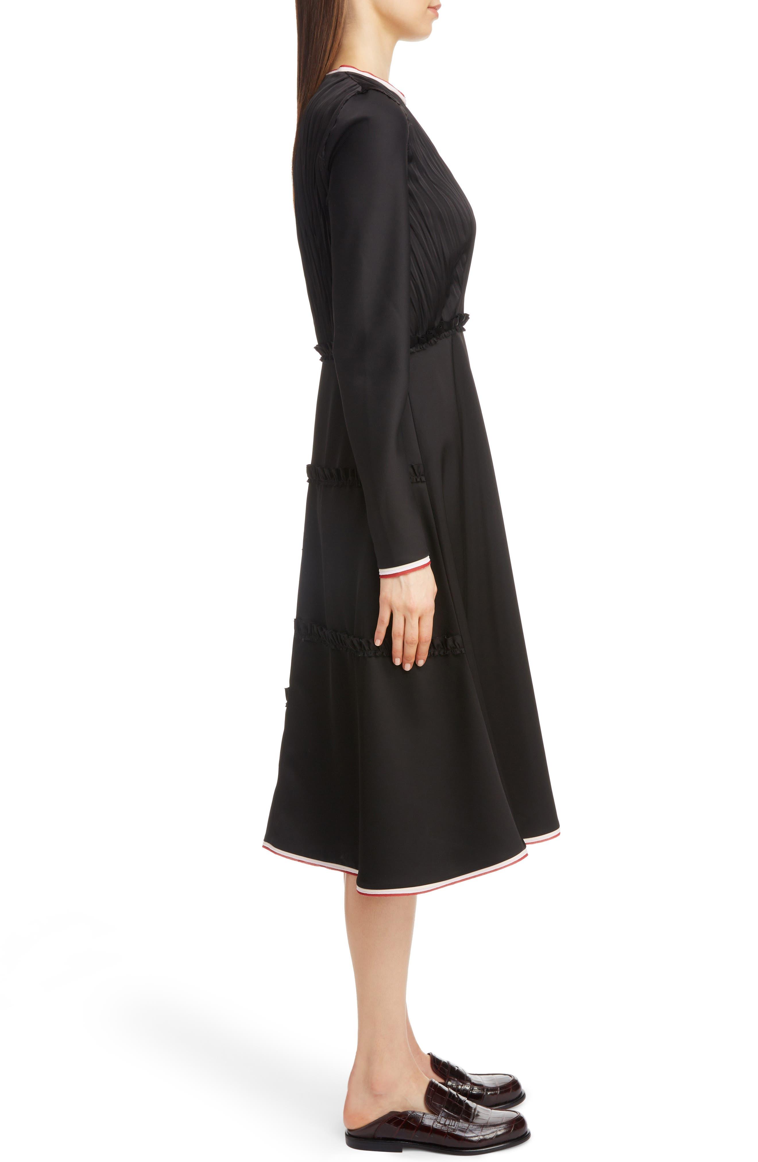 LOEWE,                             Stripe Trim Back Cutout Dress,                             Alternate thumbnail 3, color,                             001