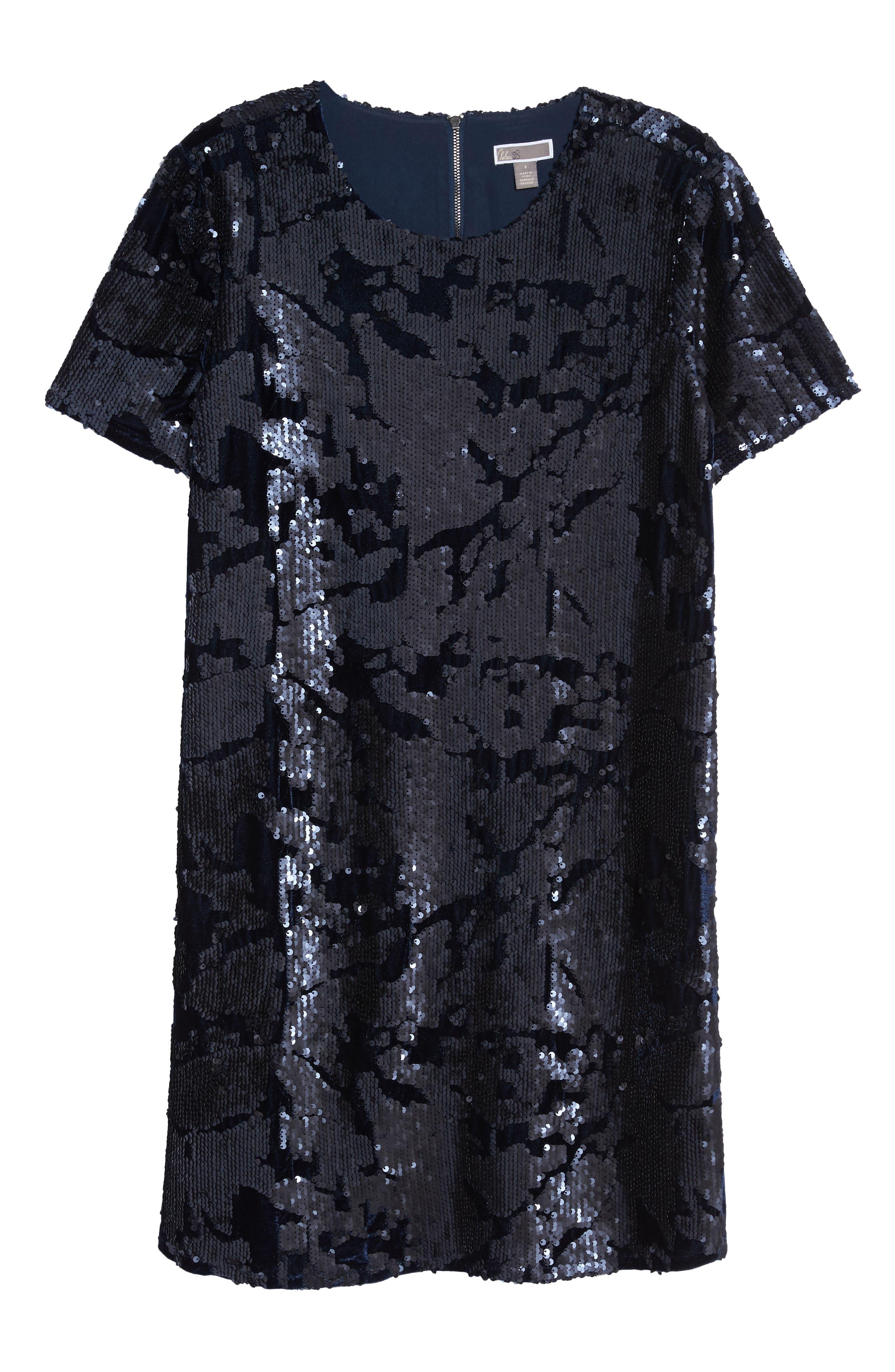 Sequin Velvet Shift Dress,                             Alternate thumbnail 6, color,                             410