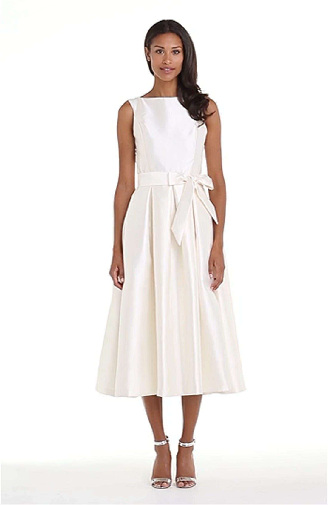 Faille Satin Fit & Flare Dress,                             Alternate thumbnail 2, color,                             900