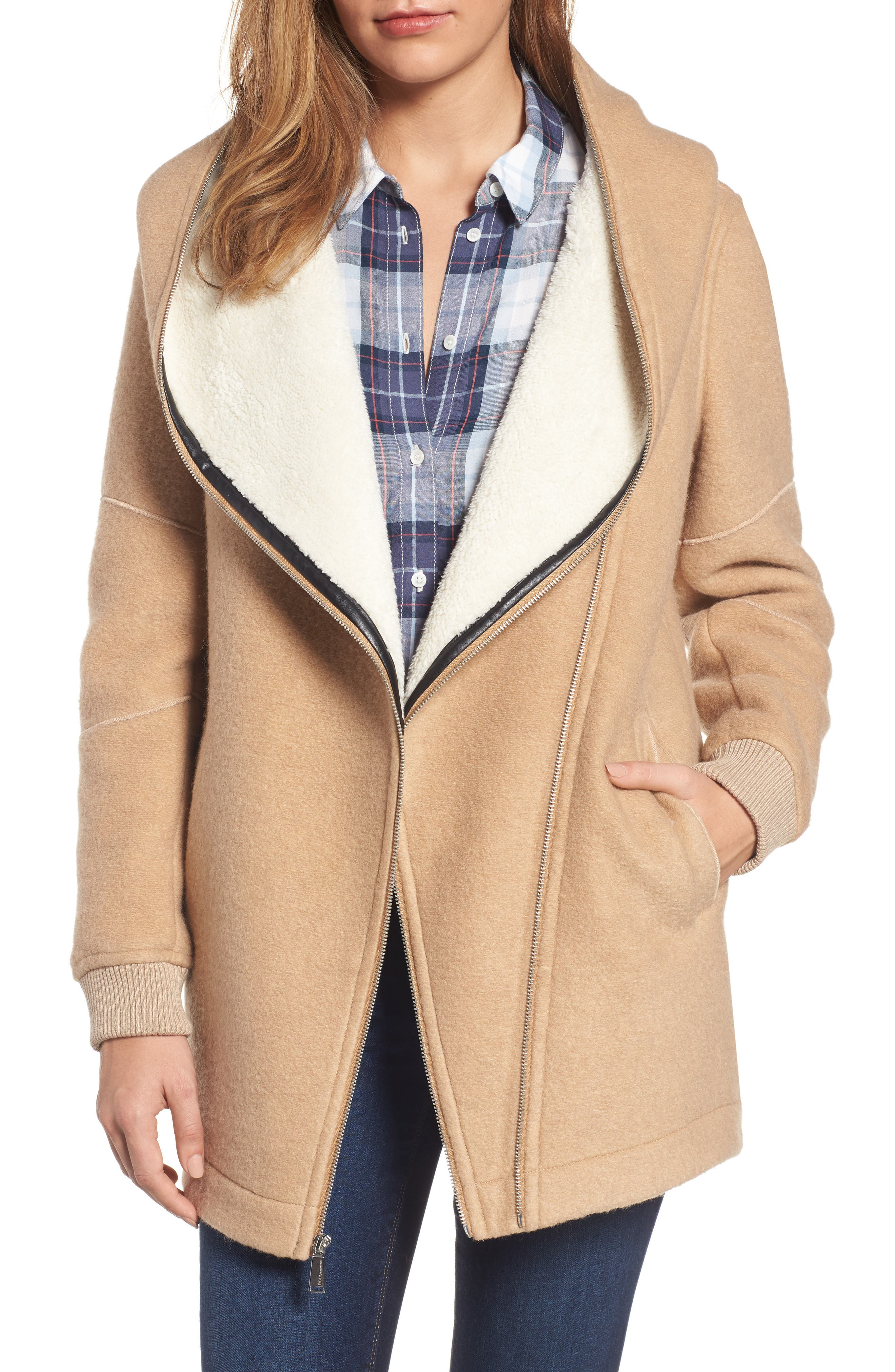 Asymmetrical Hooded Wool Blend Coat,                             Main thumbnail 1, color,                             280
