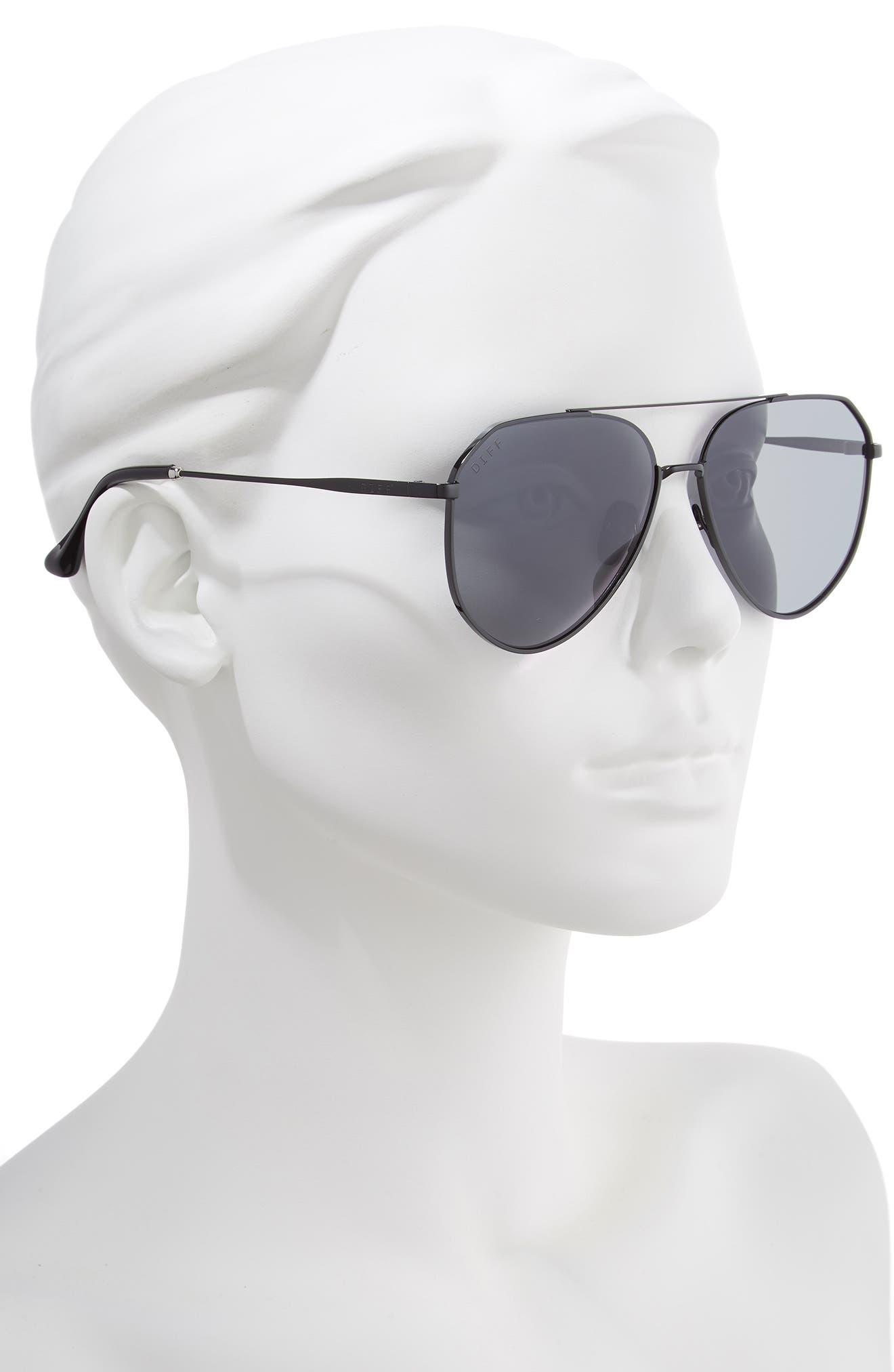 x Jessie James Decker Dash 61mm Polarized Aviator Sunglasses,                             Alternate thumbnail 2, color,                             POLISHED BLACK