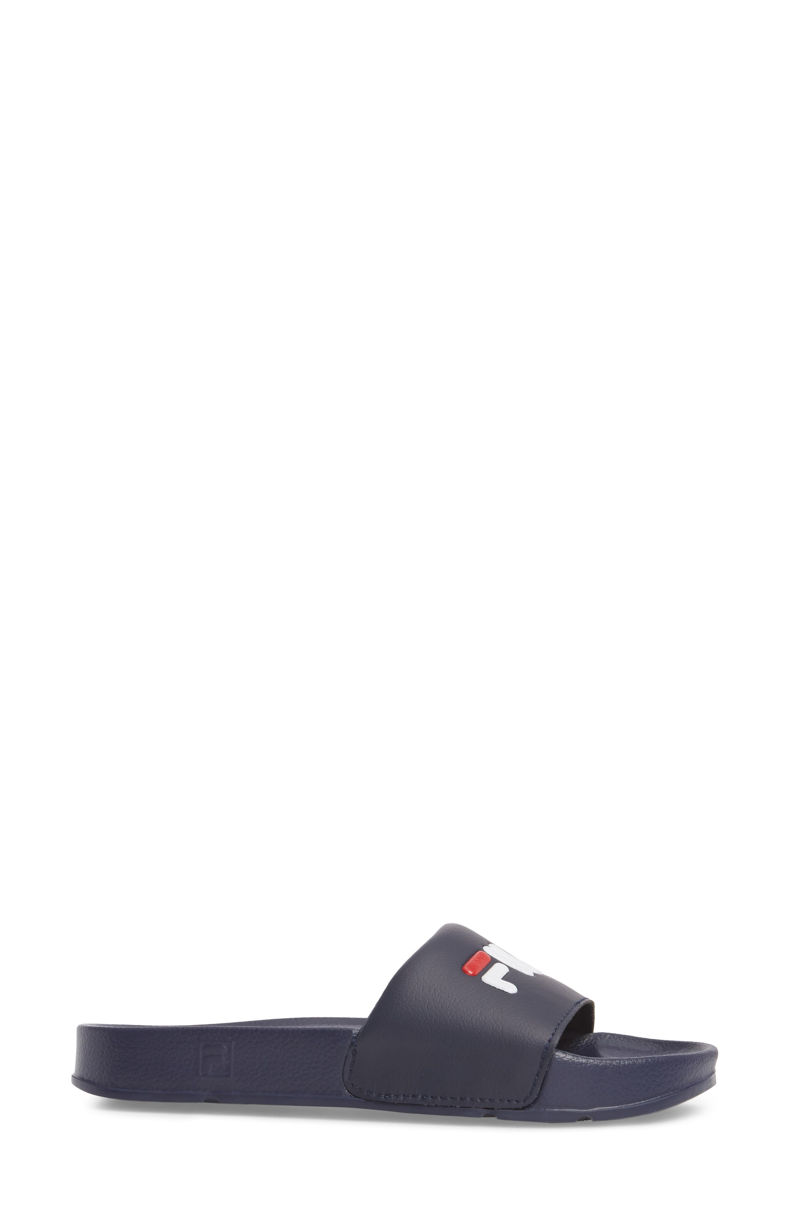 Slide Sandal,                             Alternate thumbnail 3, color,                             NAVY/ RED/ WHITE