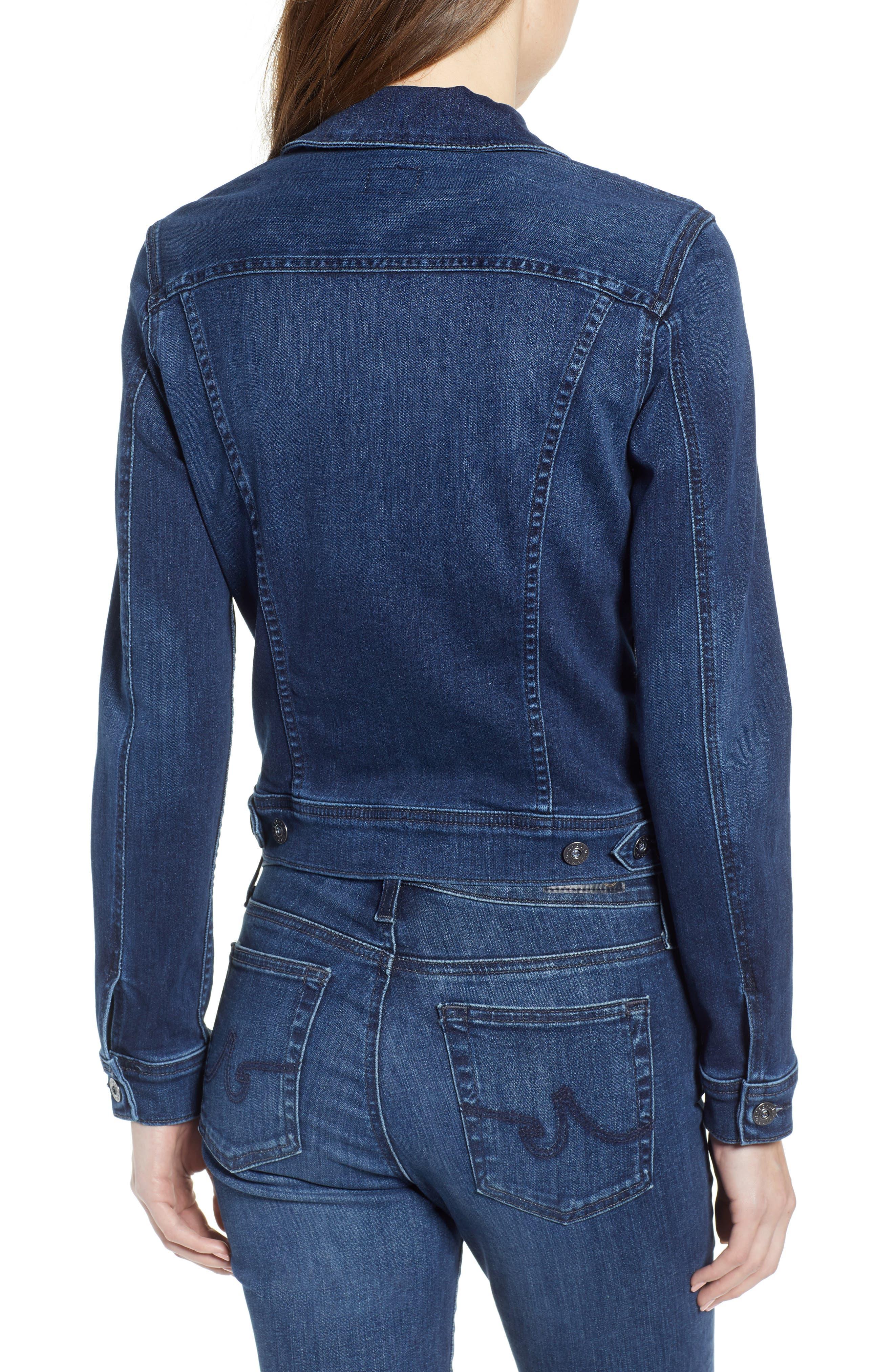 Robyn Crop Denim Jacket,                             Alternate thumbnail 2, color,                             PINNACLE BLUE