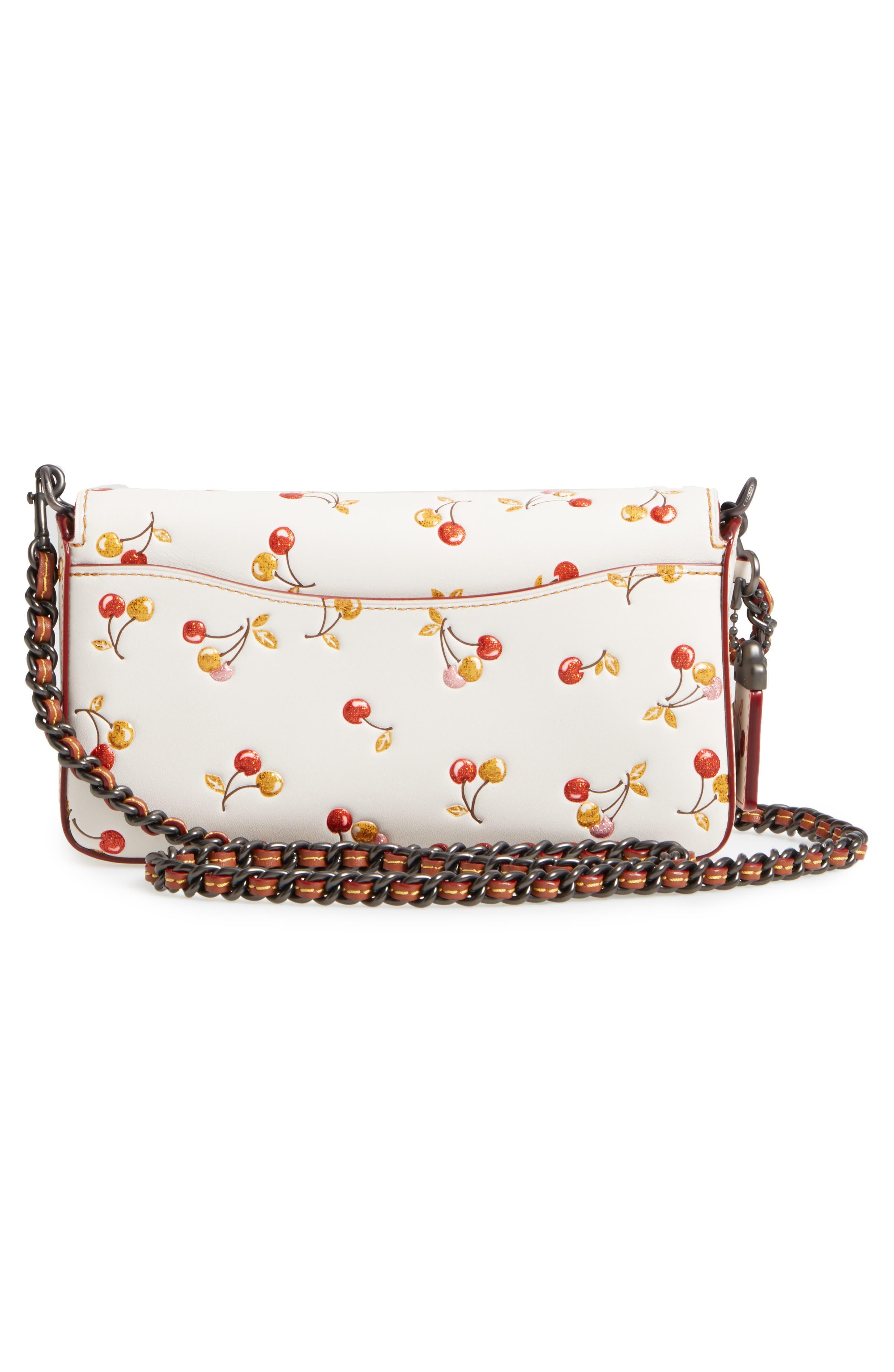 Cherries Dinky Leather Crossbody Bag,                             Alternate thumbnail 3, color,                             250