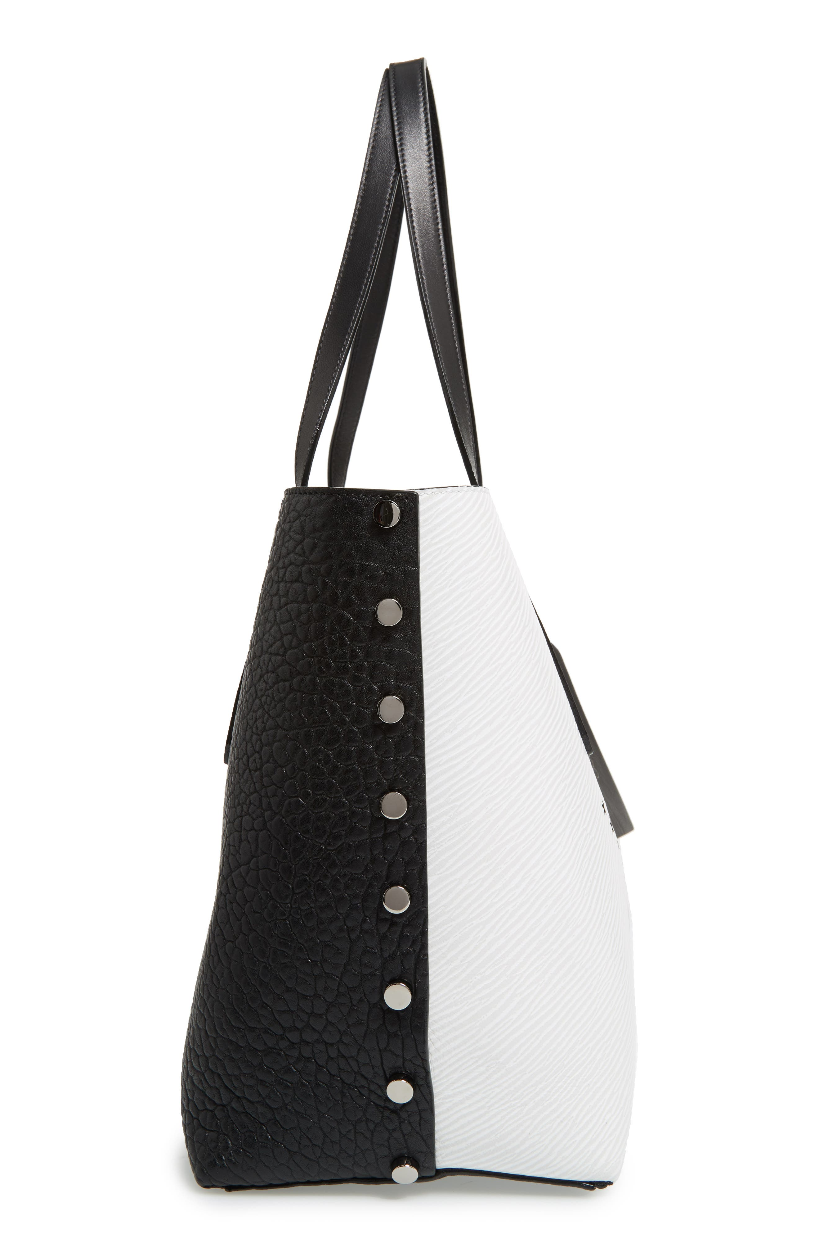 Star Studded Leather Tote,                             Alternate thumbnail 5, color,                             100