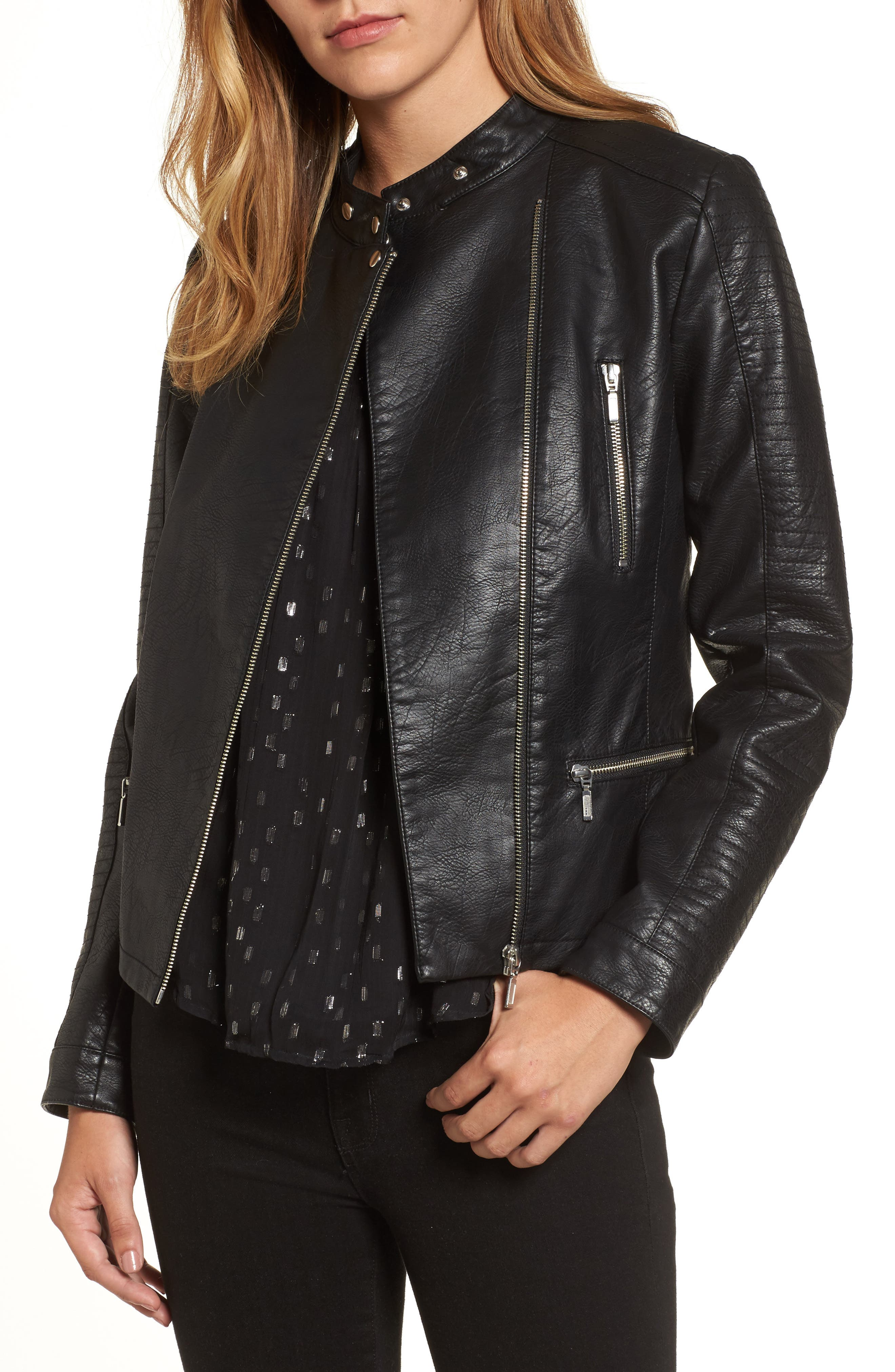 Quilted Faux Leather Moto Jacket,                             Main thumbnail 1, color,                             BLACK