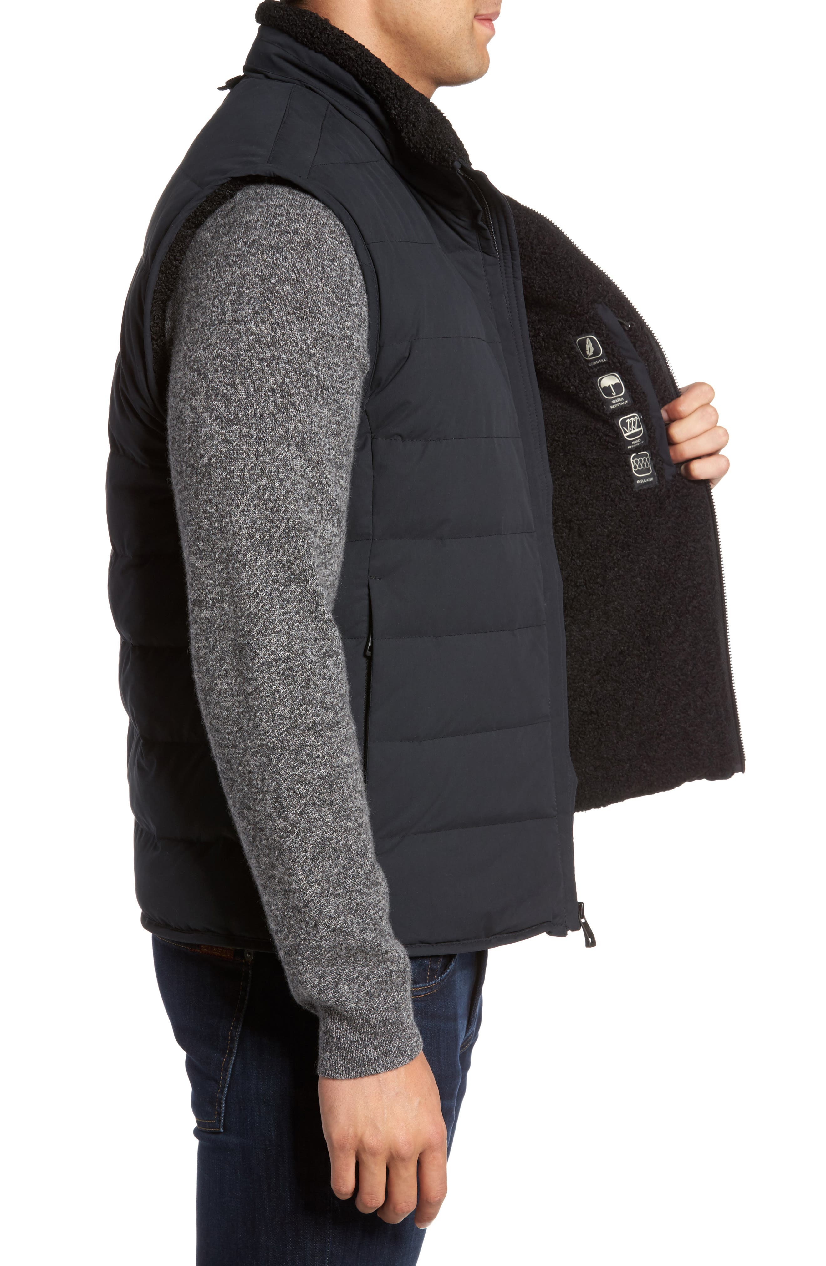Quilted Down Vest with Faux Shearling Lining,                             Alternate thumbnail 3, color,