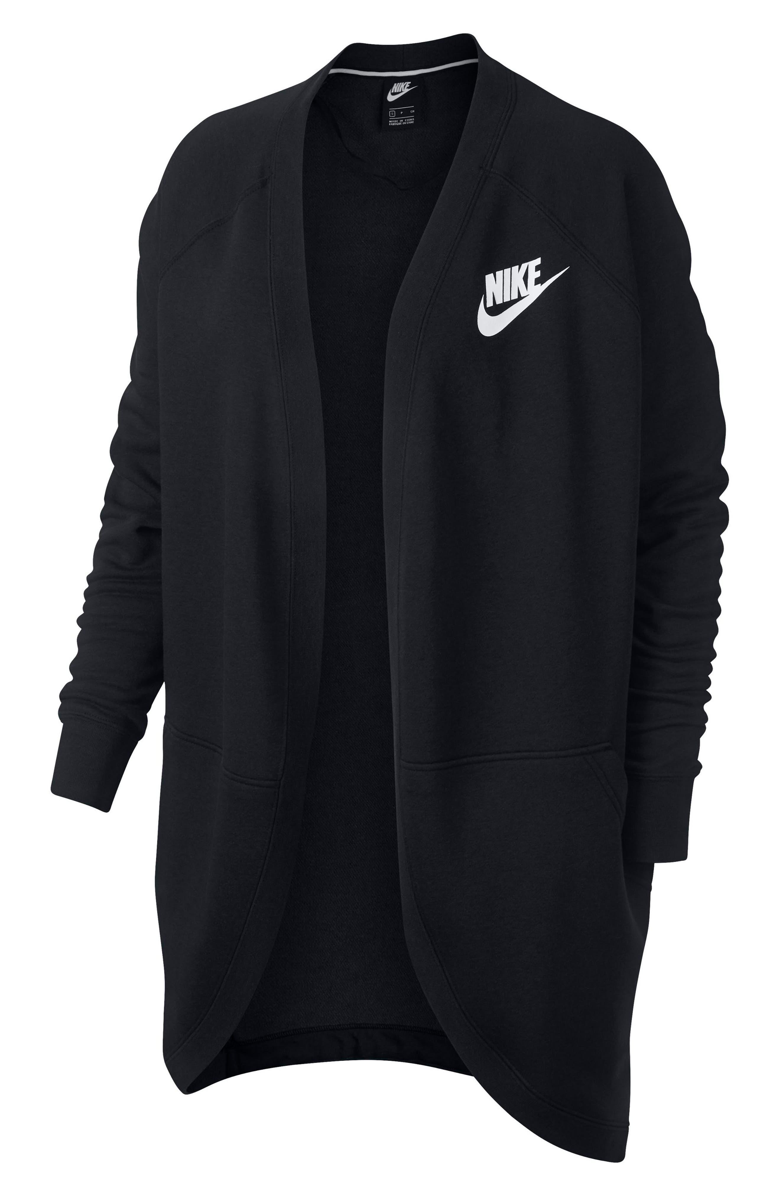 Sportswear Rally Cardigan,                             Alternate thumbnail 4, color,                             BLACK/ BLACK/ WHITE