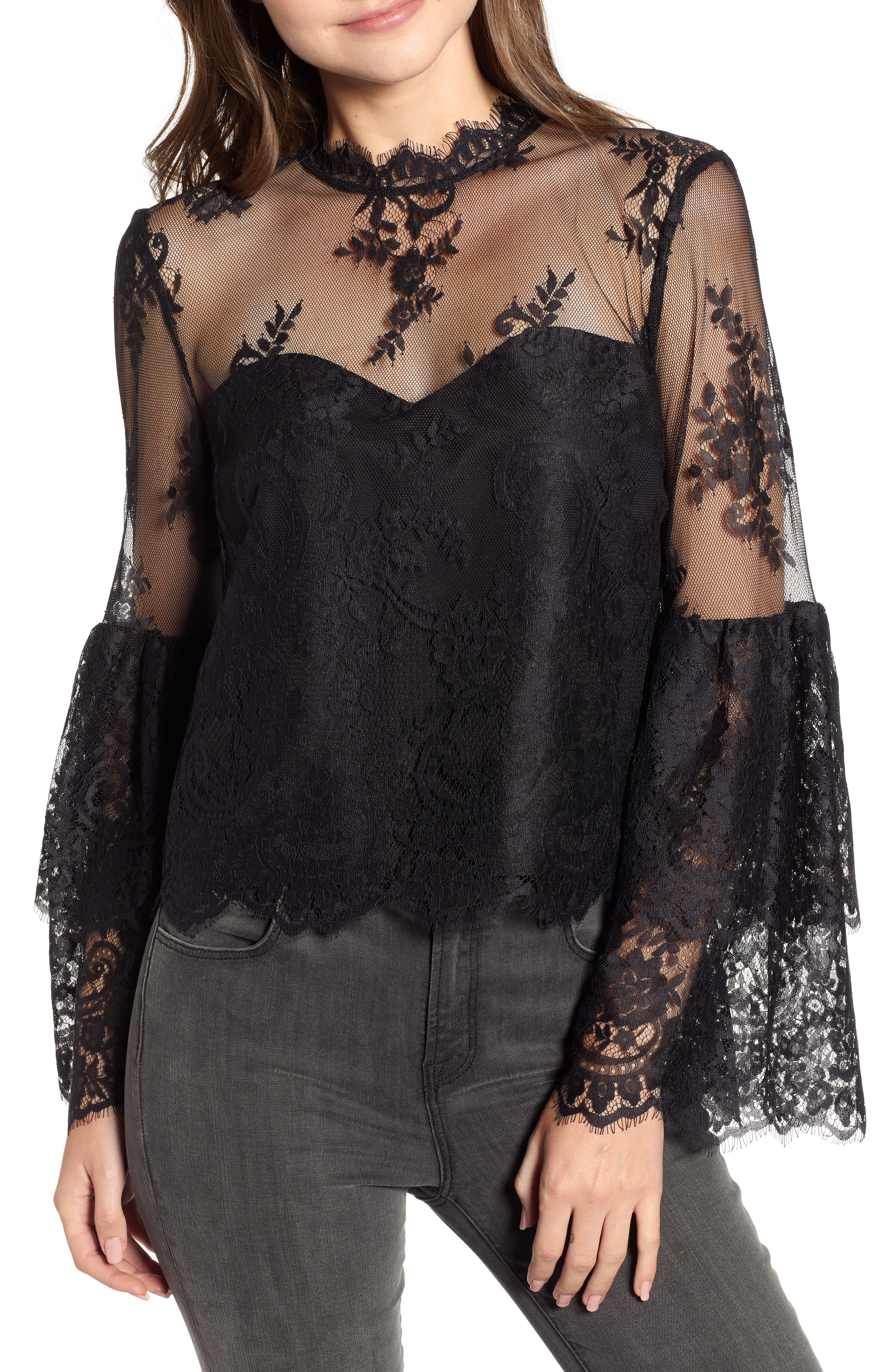 CUPCAKES AND CASHMERE Davey Lace Bell-Sleeve Illusion Blouse in Black