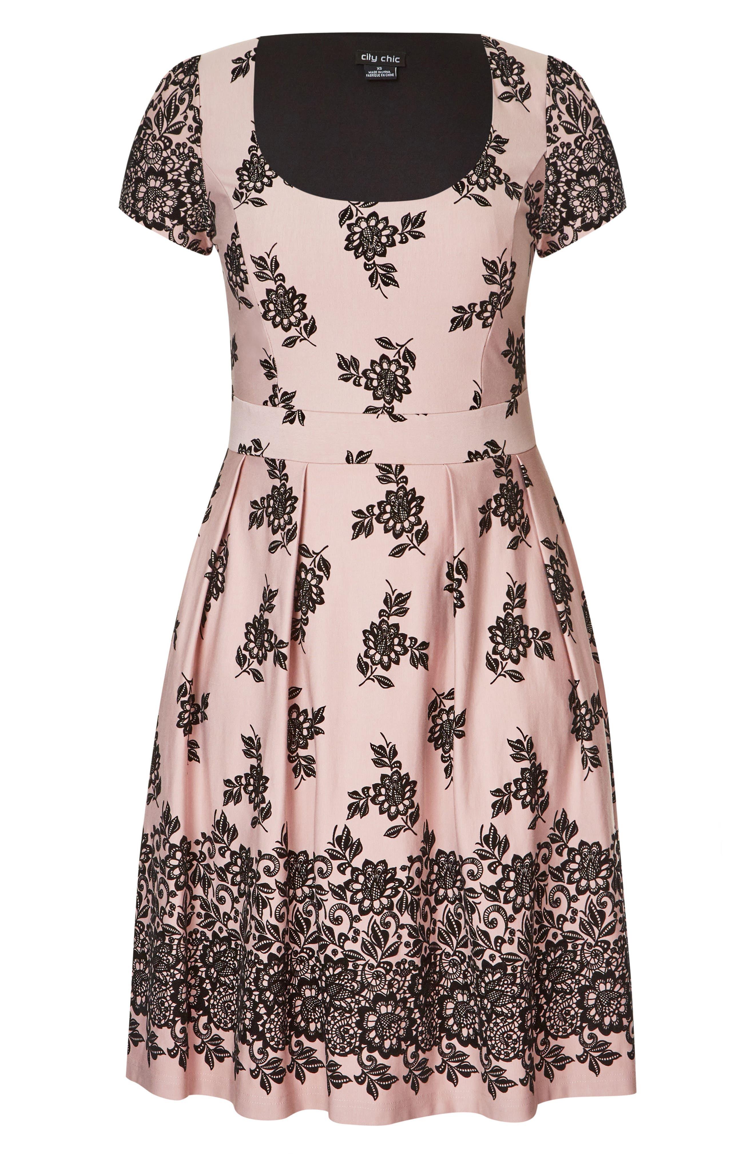 Flocked Dress,                             Alternate thumbnail 3, color,                             BALLET PINK