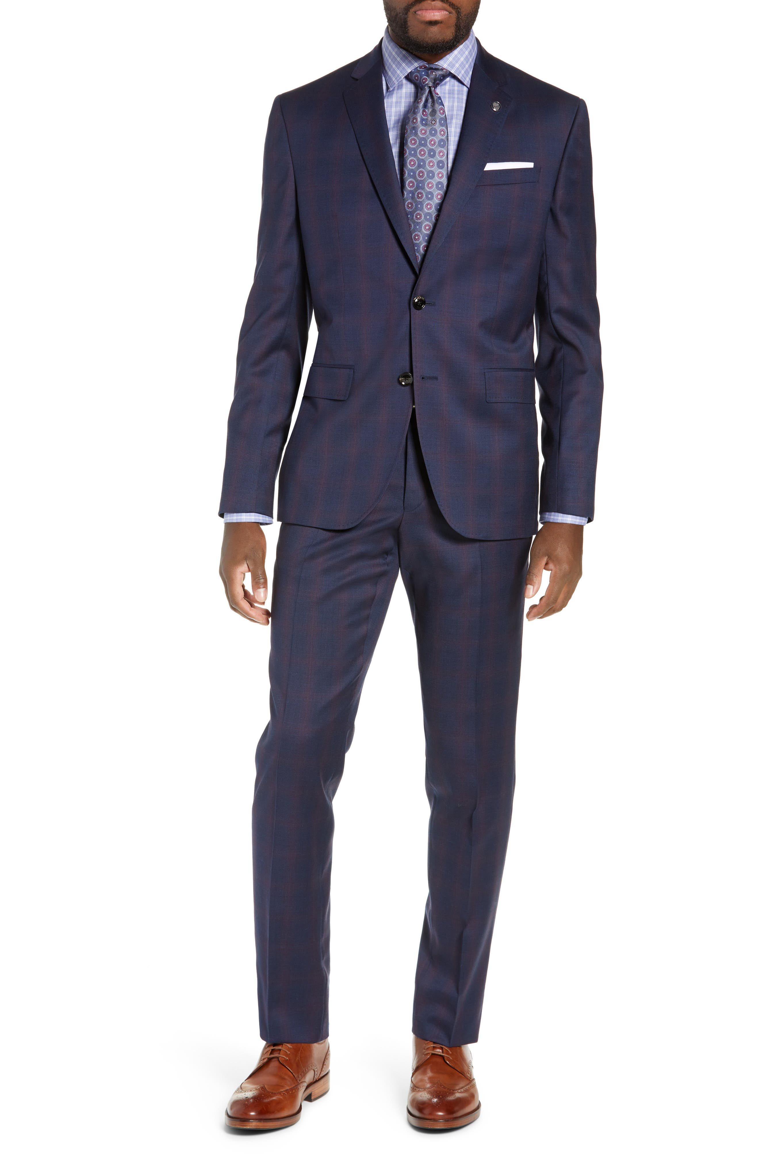 TED BAKER LONDON Roger Slim Fit Plaid Wool Suit, Main, color, NAVY