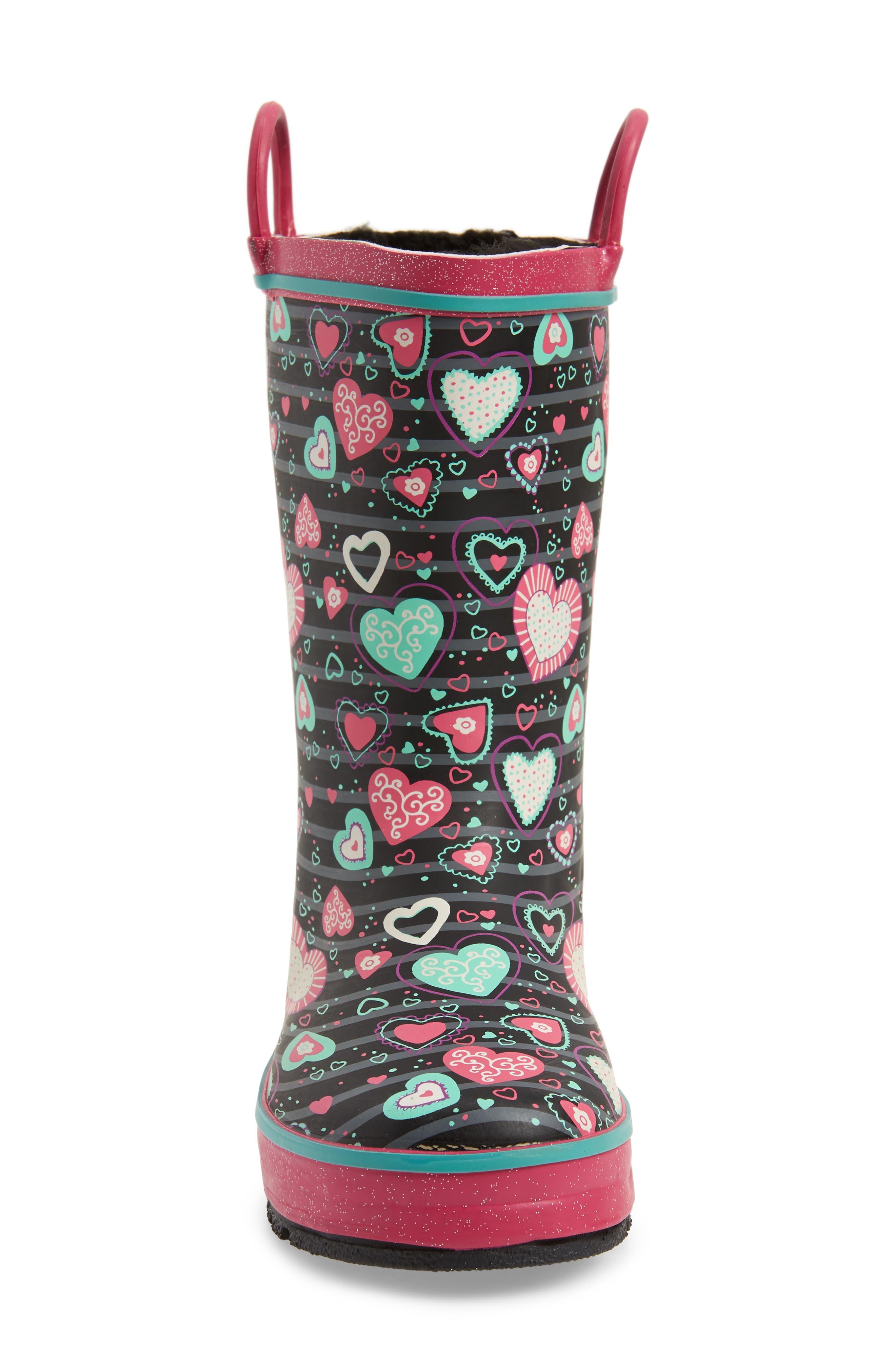 Neon Hearts Glitter Trim Waterproof Rain Boot,                             Alternate thumbnail 4, color,                             MULTI