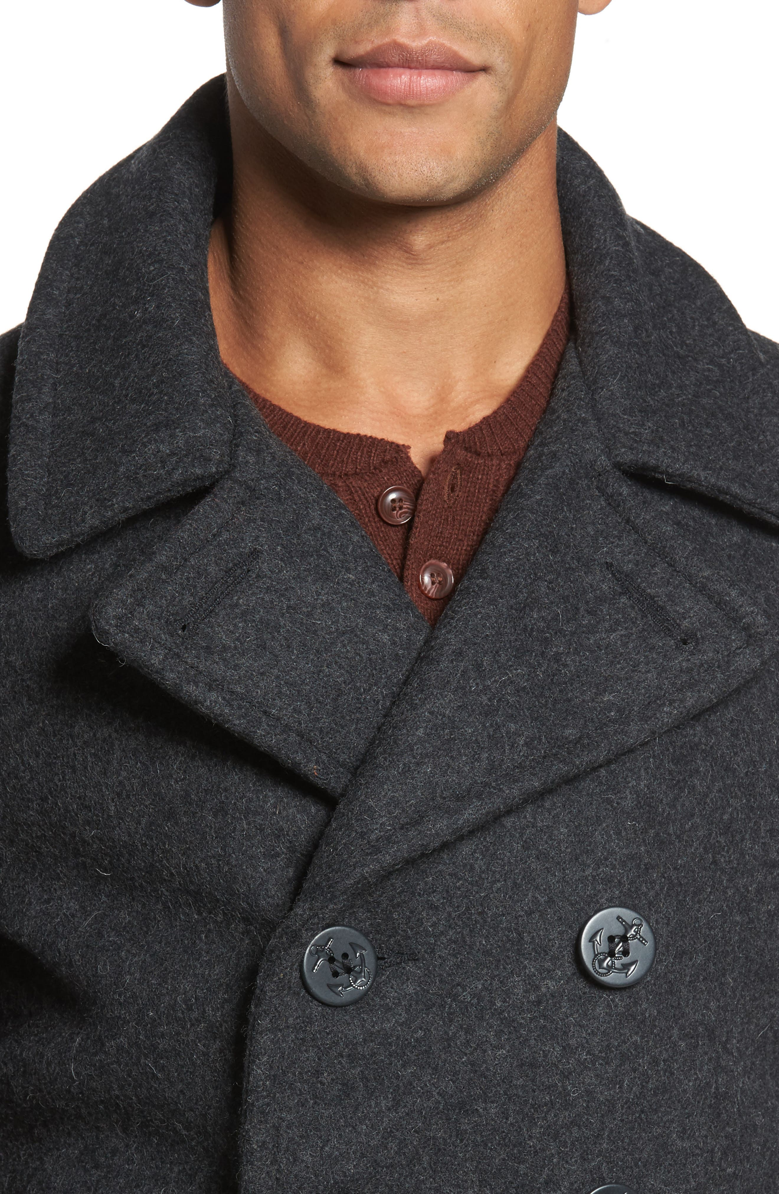 Slim Fit Melton Wool Blend Peacoat,                             Alternate thumbnail 4, color,                             022