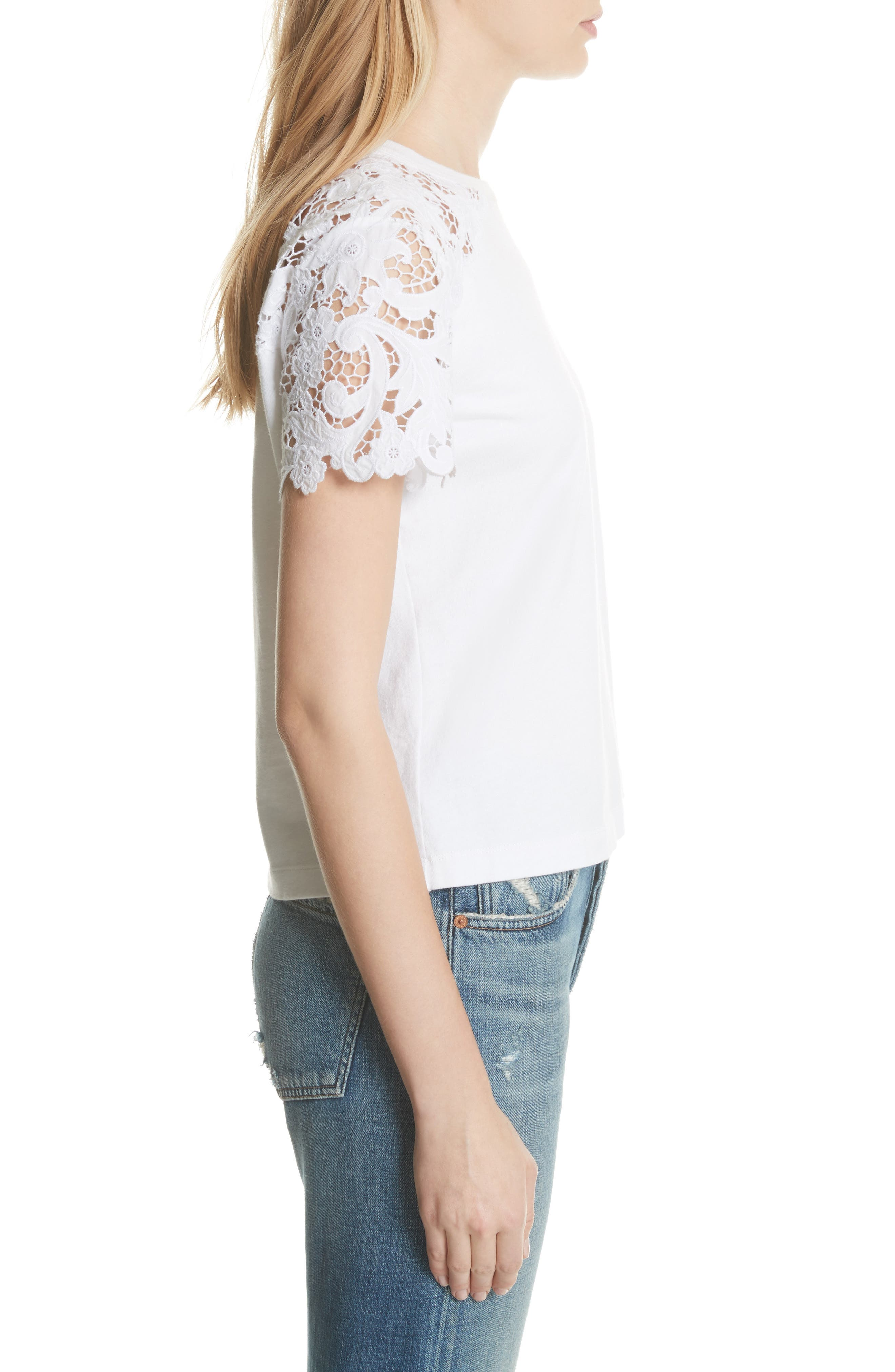 Lace Detail Tee,                             Alternate thumbnail 5, color,