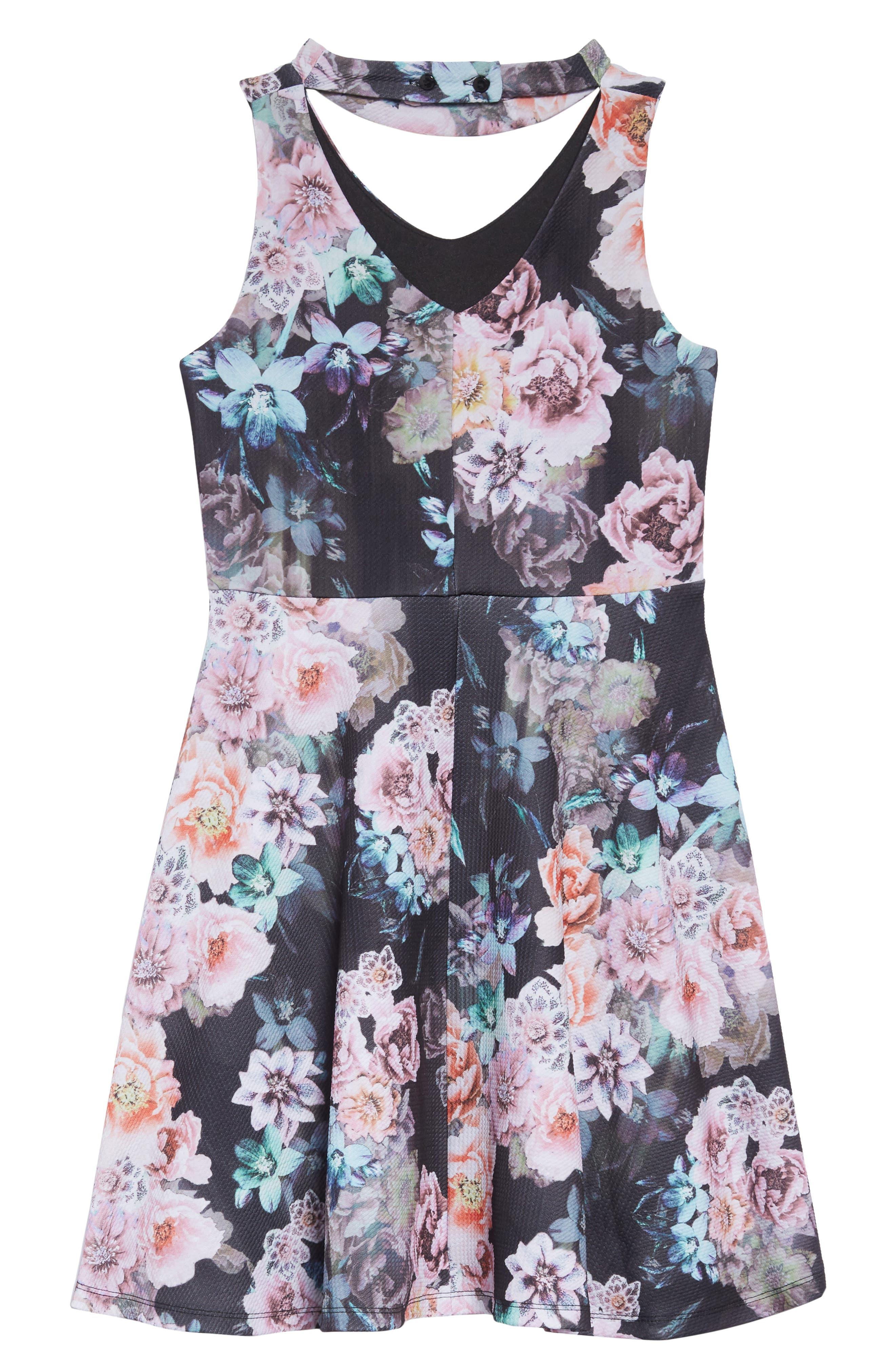 Gigi Floral Skater Dress,                             Alternate thumbnail 2, color,                             BLACK