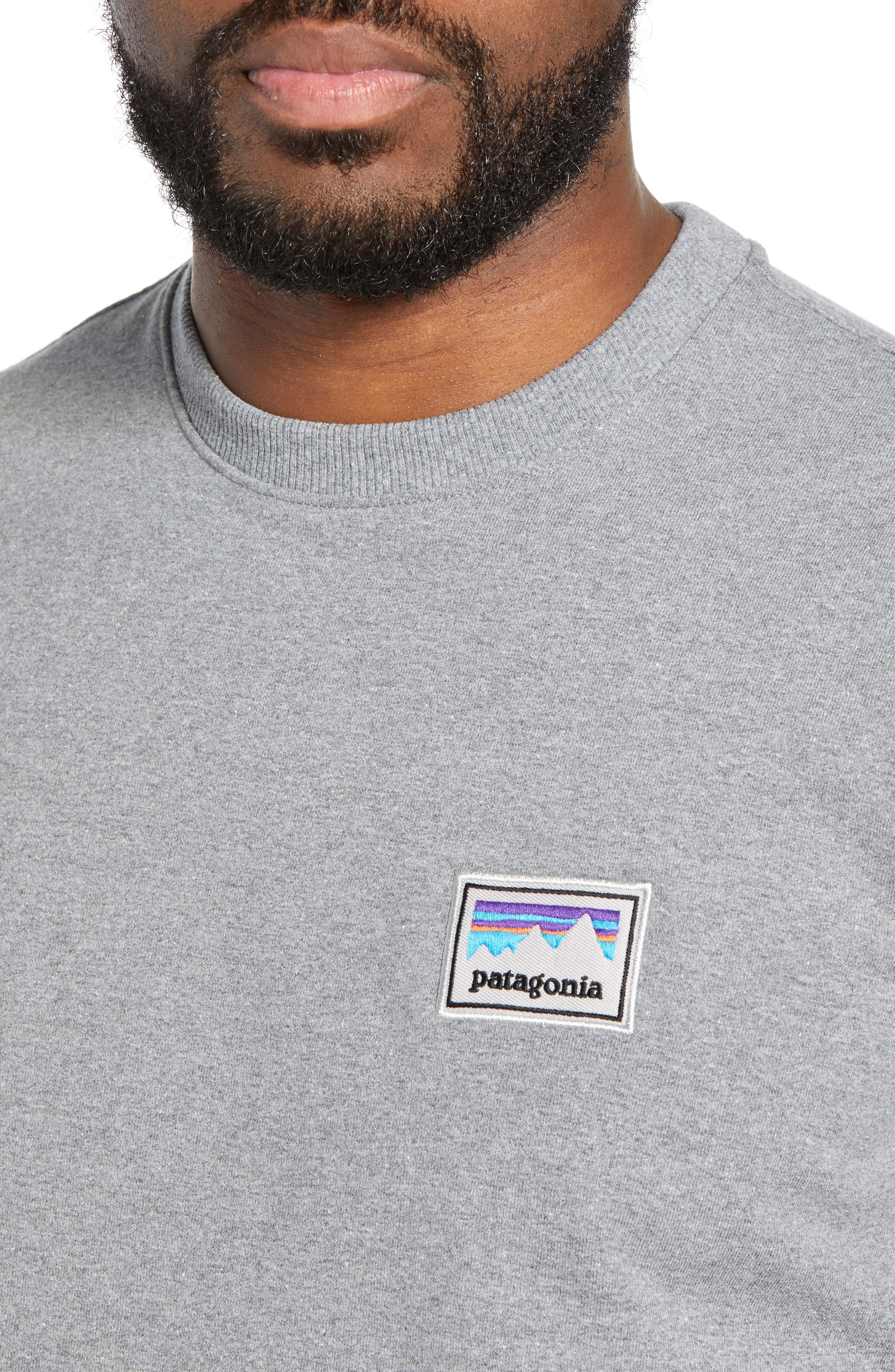 PATAGONIA,                             Shop Sticker Patch Uprisal Crew Sweatshirt,                             Alternate thumbnail 4, color,                             GRAVEL HEATHER