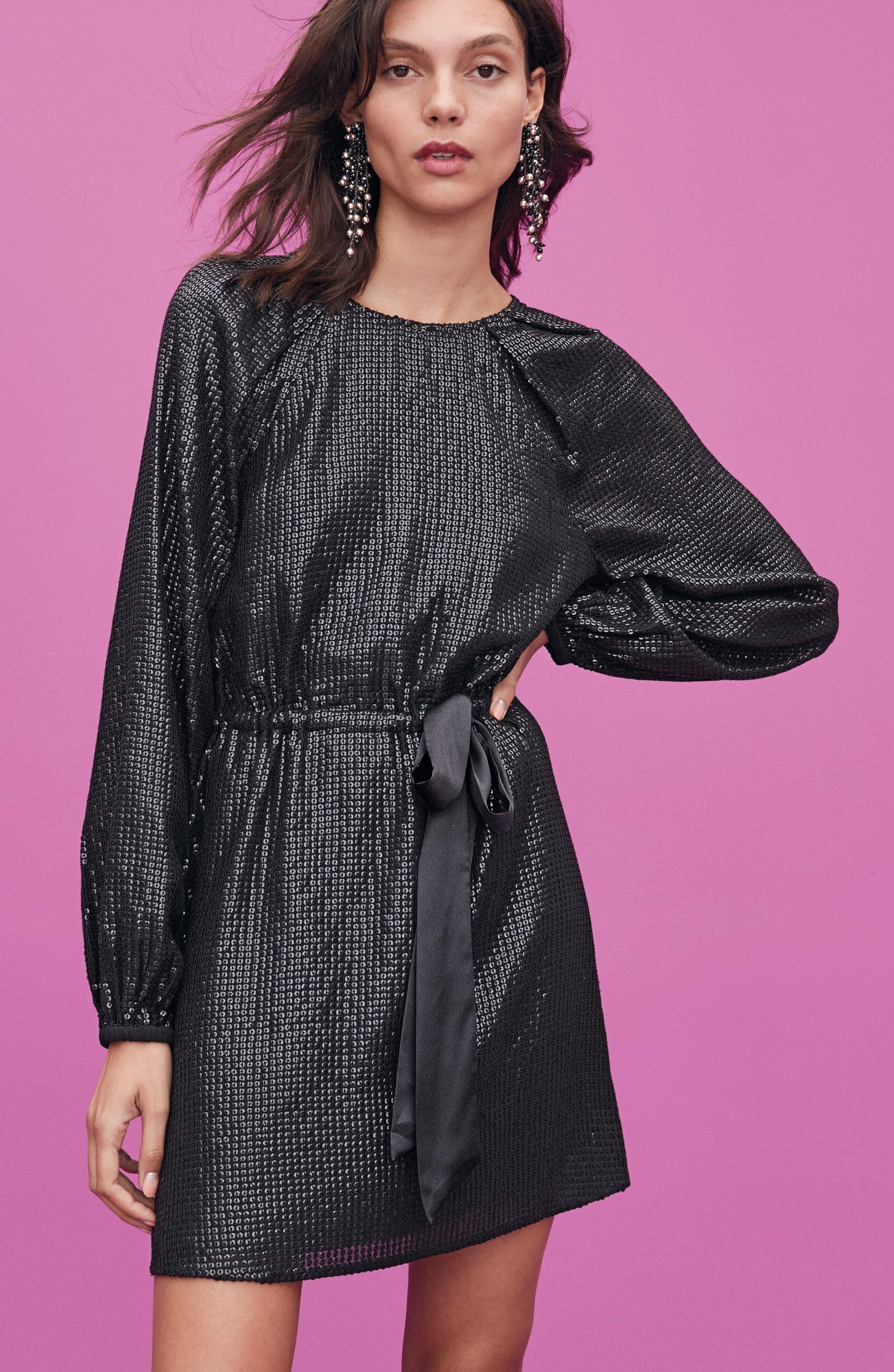 Sequin Raglan Minidress,                             Alternate thumbnail 9, color,                             BLACK