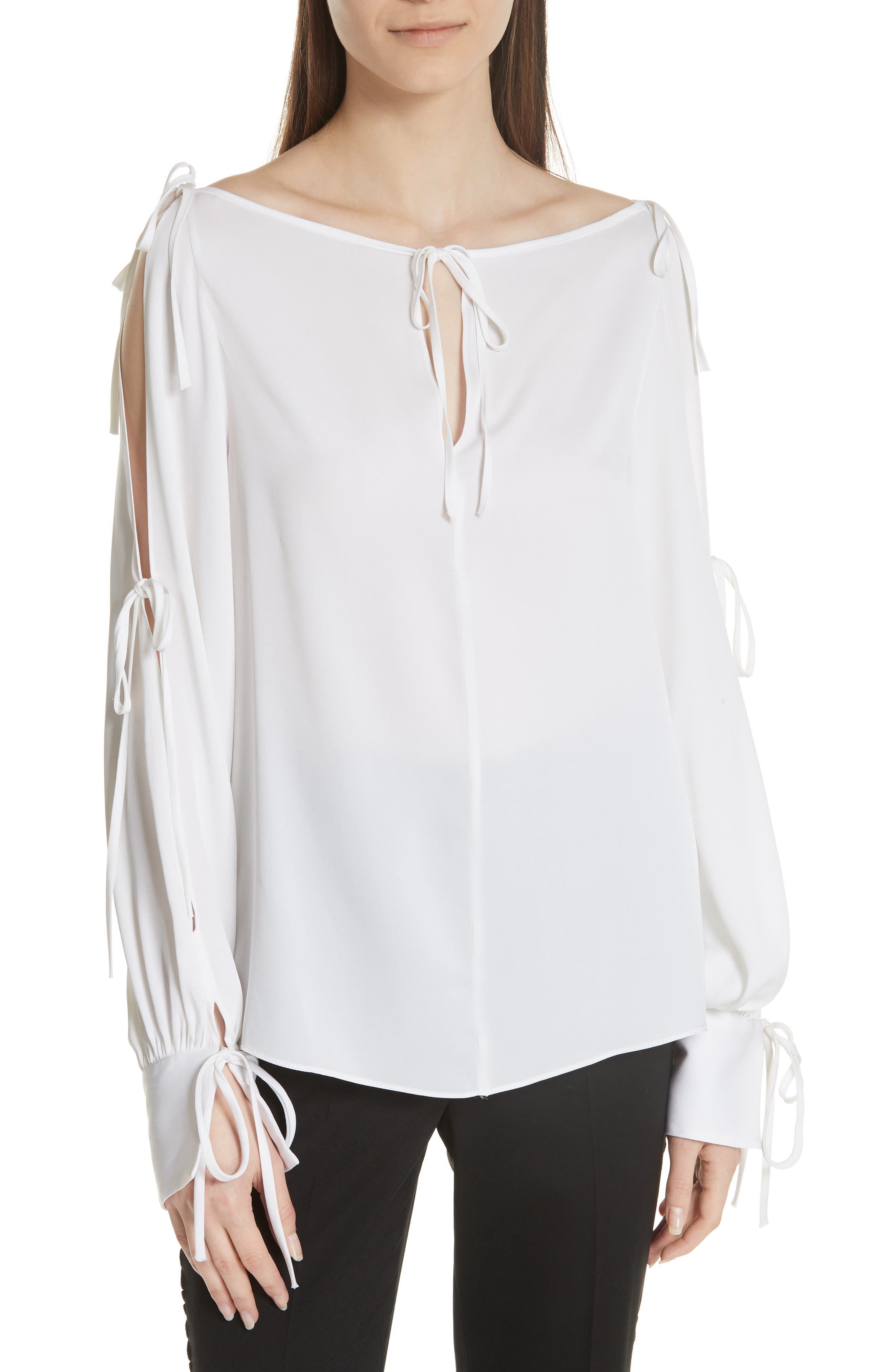 Connie Stretch Cold Shoulder Silk Top,                             Main thumbnail 1, color,                             WHITE