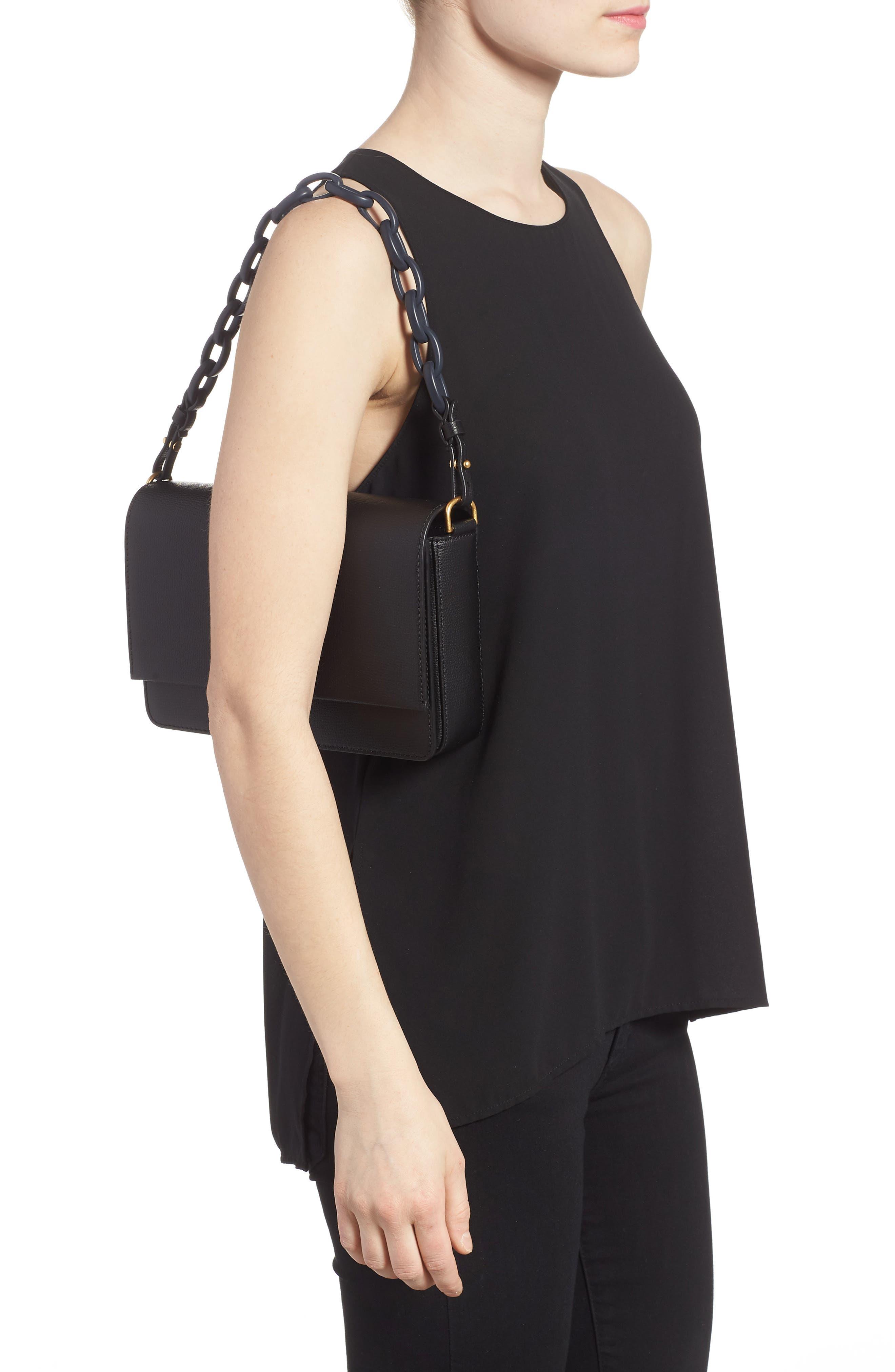 Kira Leather Shoulder Bag,                             Alternate thumbnail 2, color,                             BLACK