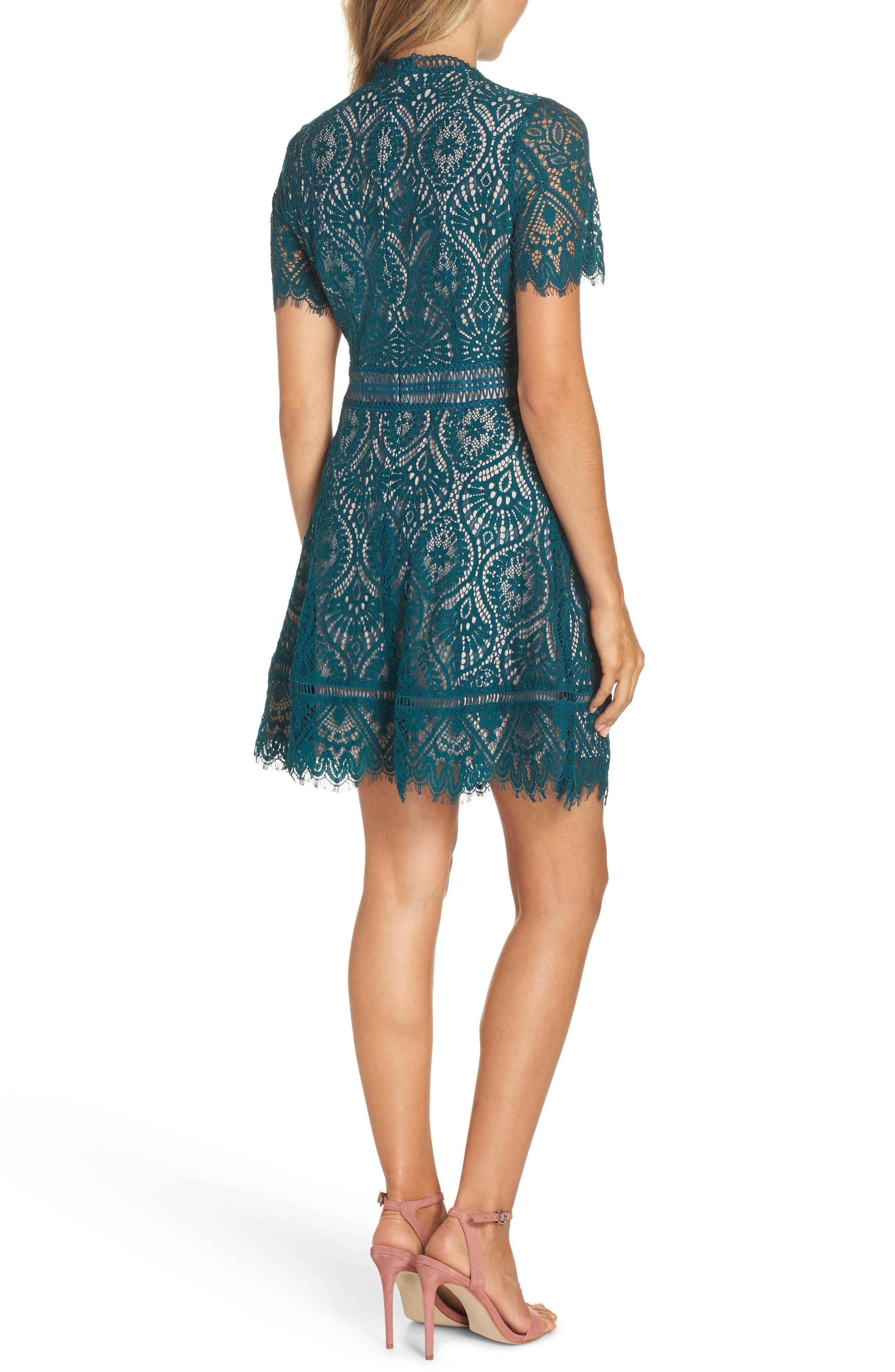 On List Short Sleeve Lace Fit & Flare Dress,                             Alternate thumbnail 2, color,                             301