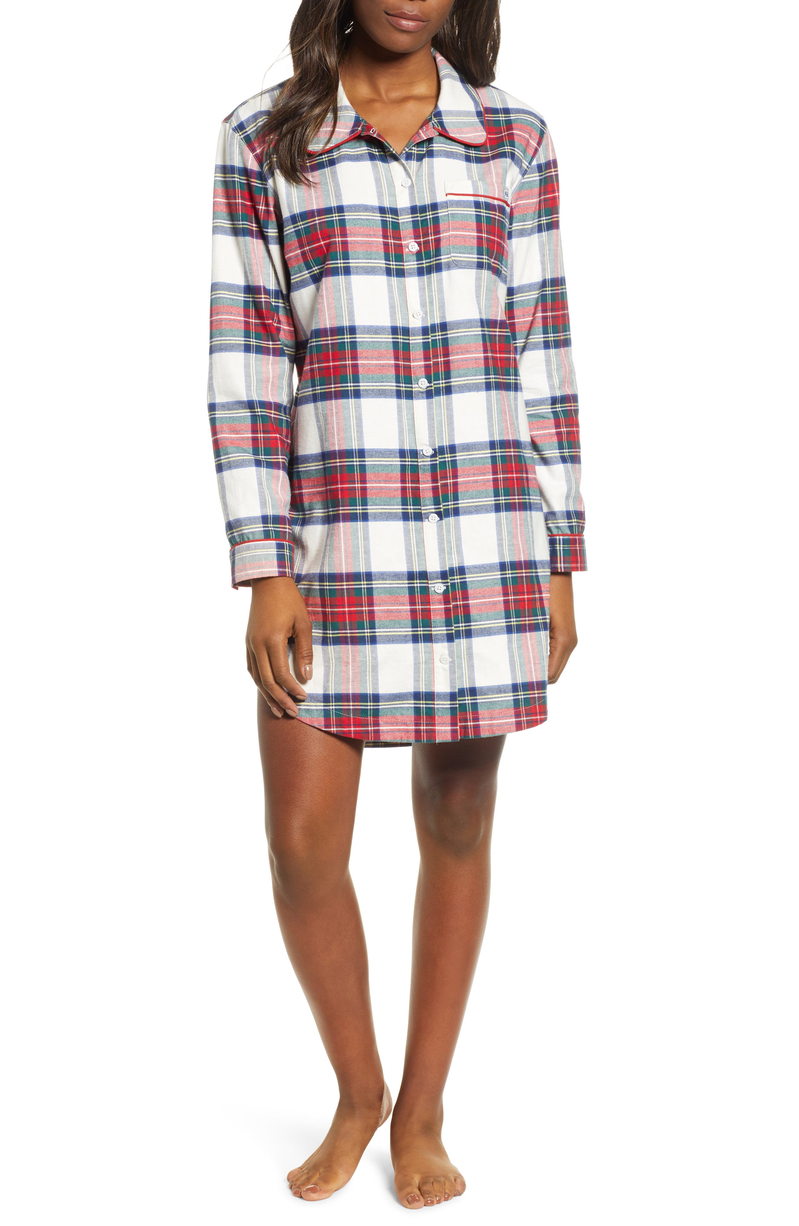 Jolly Plaid Flannel Pajama Shirt,                         Main,                         color, FROST