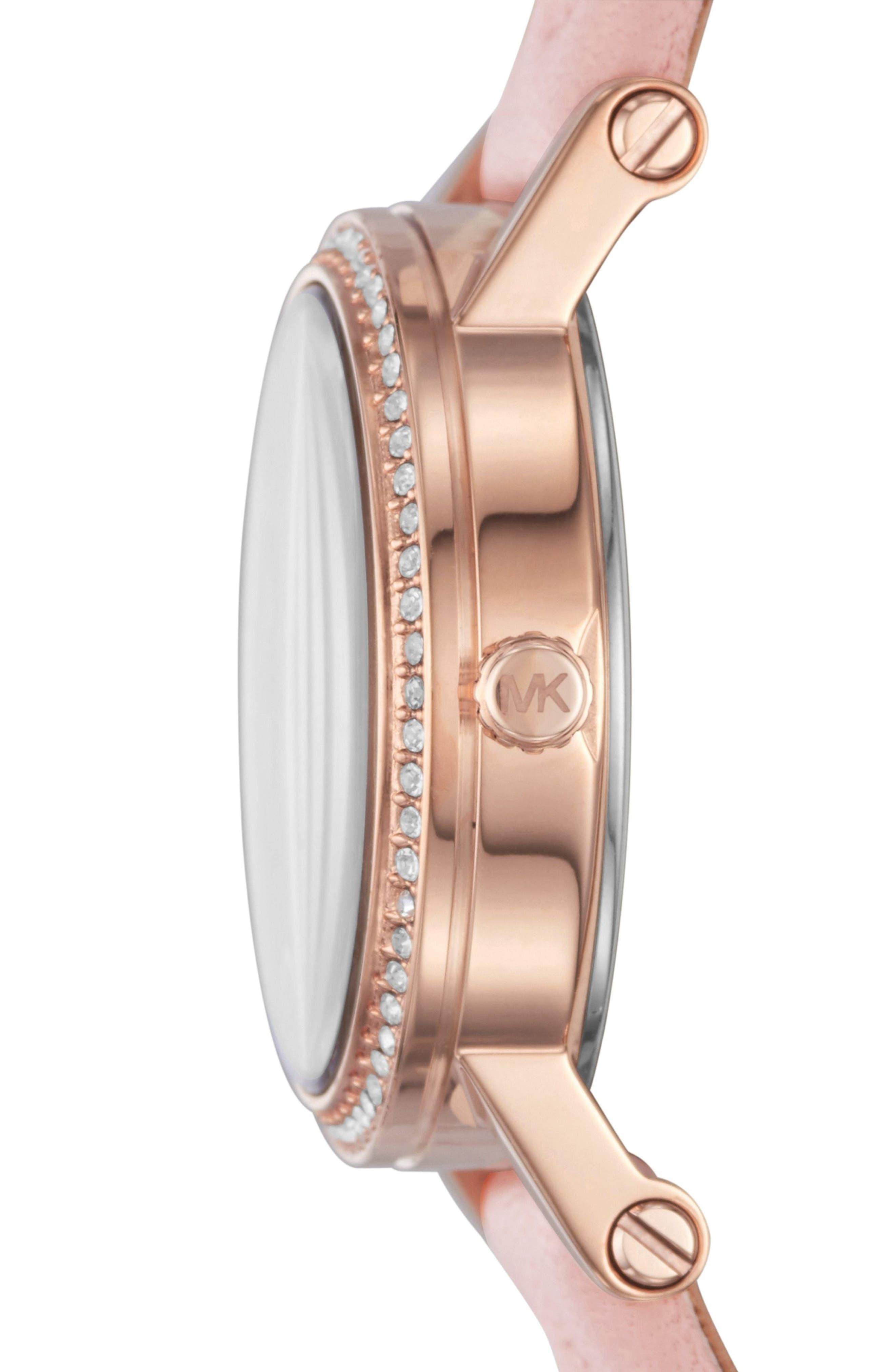 MICHAEL Michael Kors Petite Norie Crystal Accent Leather Strap Watch, 28mm,                             Alternate thumbnail 2, color,                             650