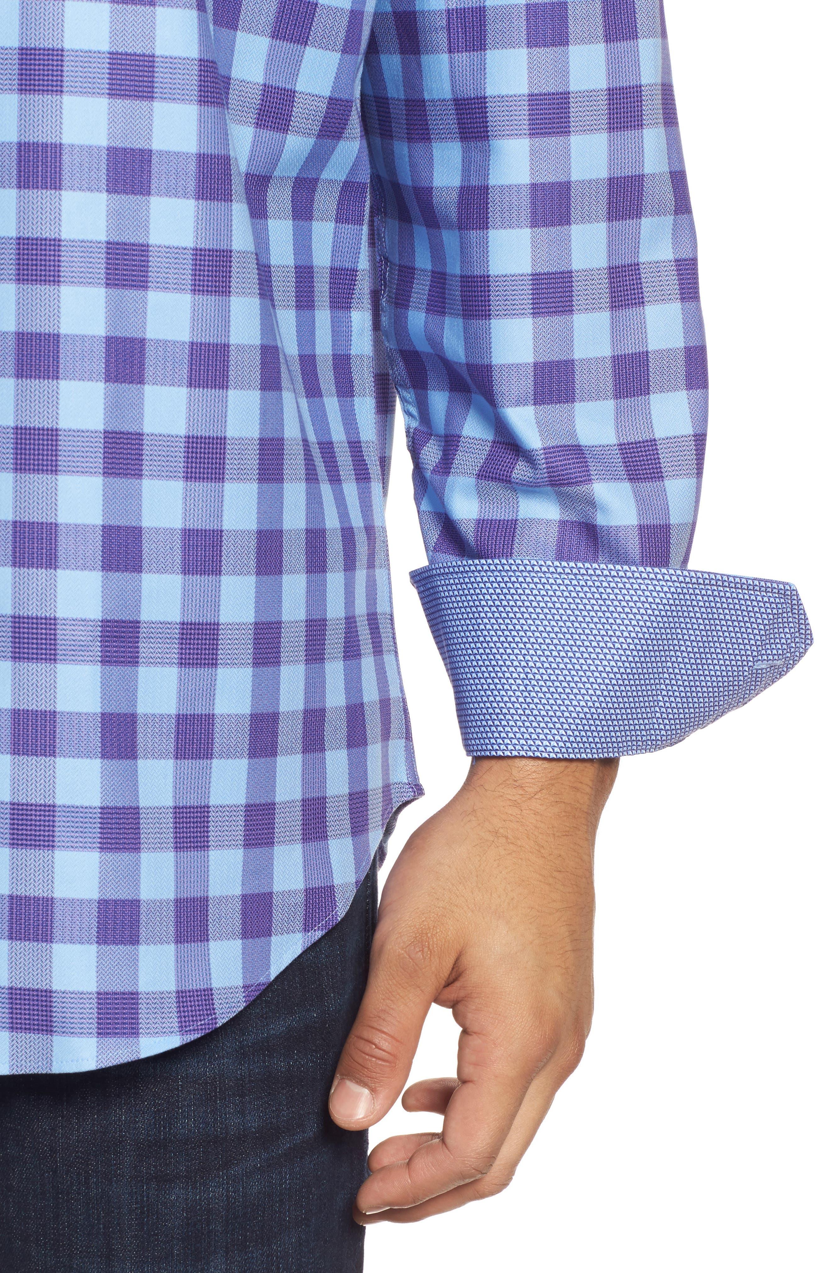 Classic Fit Woven Check Sport Shirt,                             Alternate thumbnail 4, color,                             513