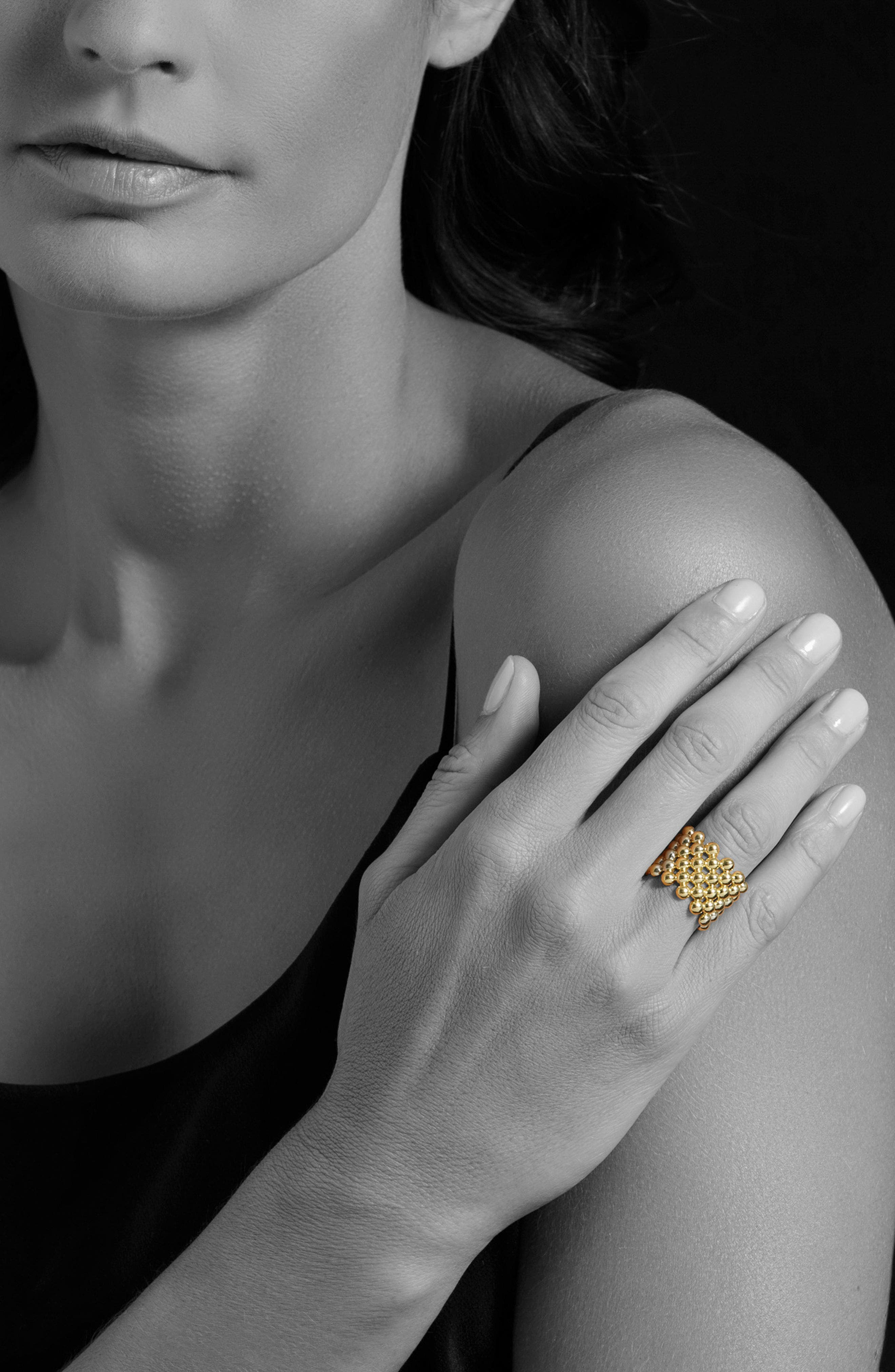 Caviar Gold Wide Band Ring,                             Alternate thumbnail 2, color,                             GOLD