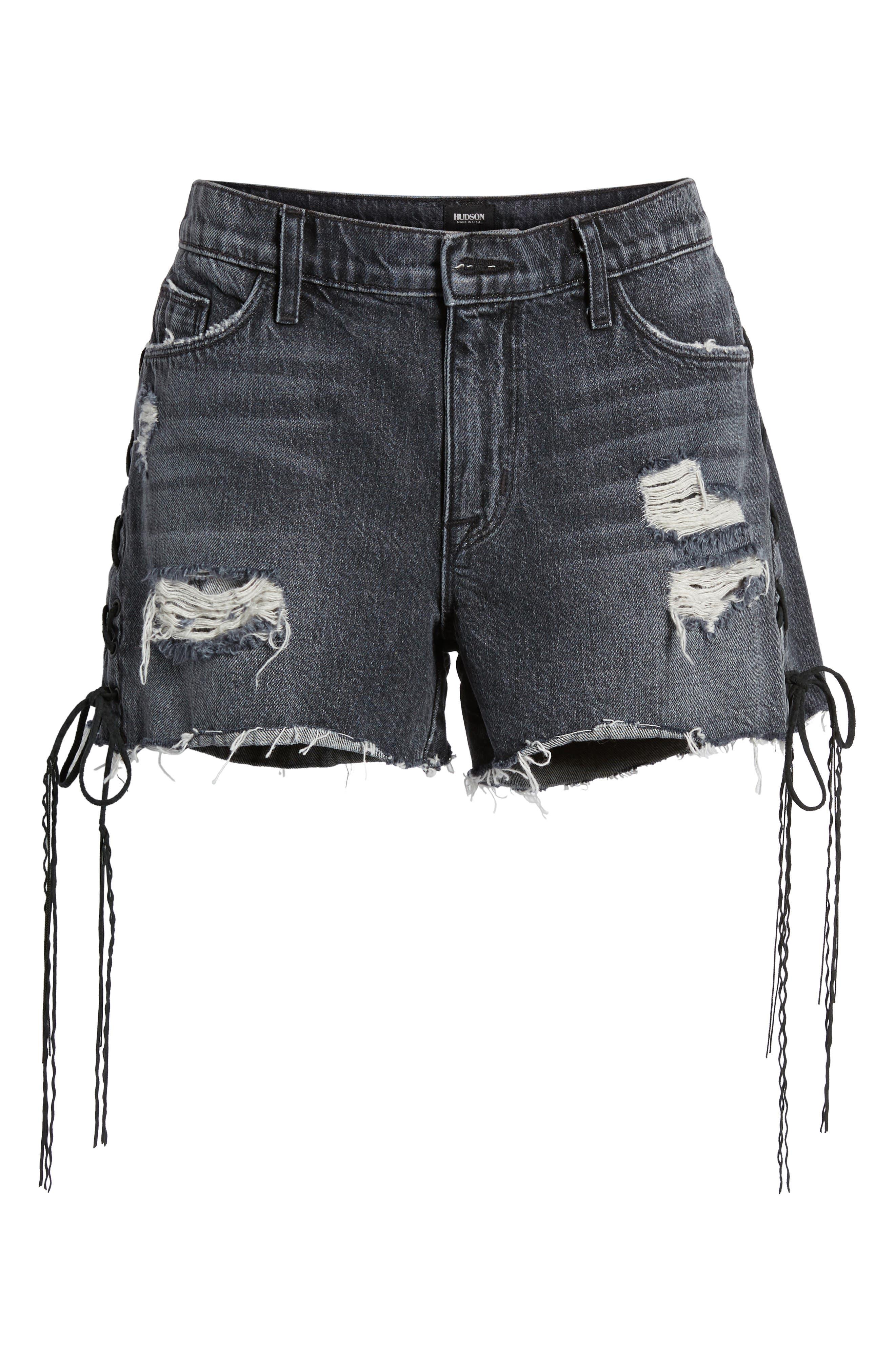 Sade Lace-Up Cutoff Denim Shorts,                             Alternate thumbnail 6, color,                             001