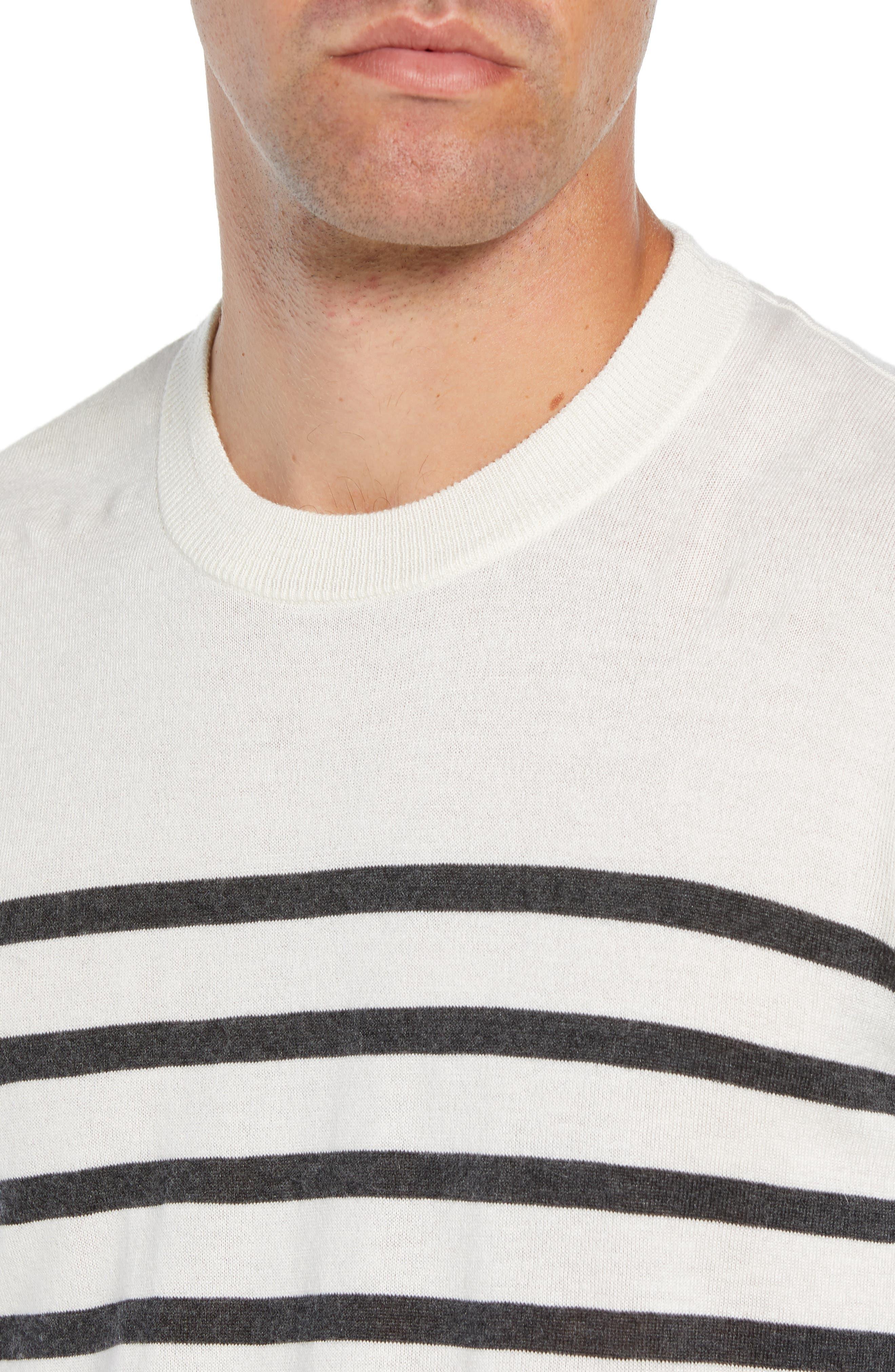 ATM ANTHONY THOMAS MELILLO,                             Sailor Stripe Silk Blend Sweater,                             Alternate thumbnail 4, color,                             CHALK/ CHARCOAL COMBO