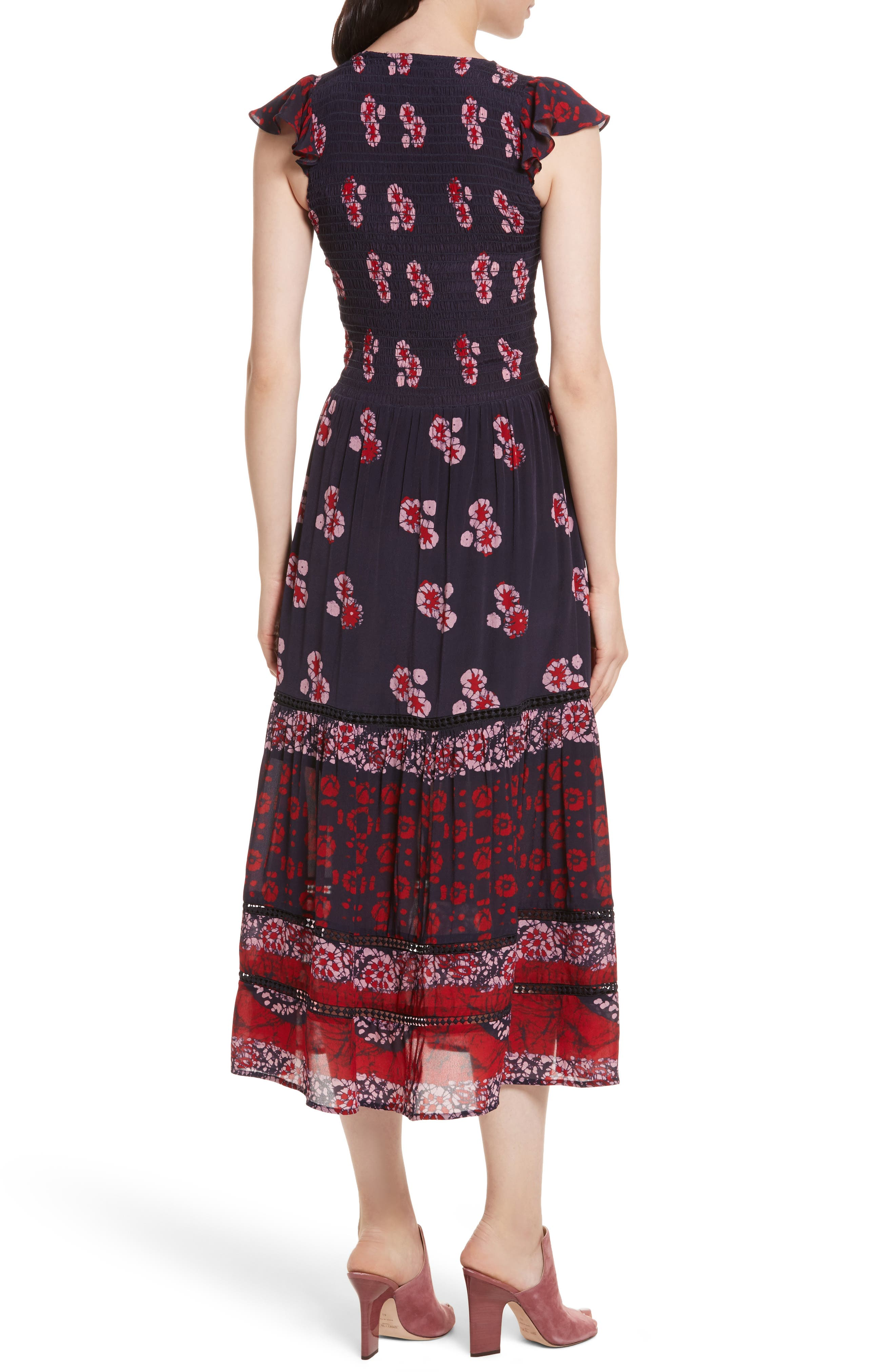 Print Flutter Sleeve Midi Dress,                             Alternate thumbnail 2, color,                             600