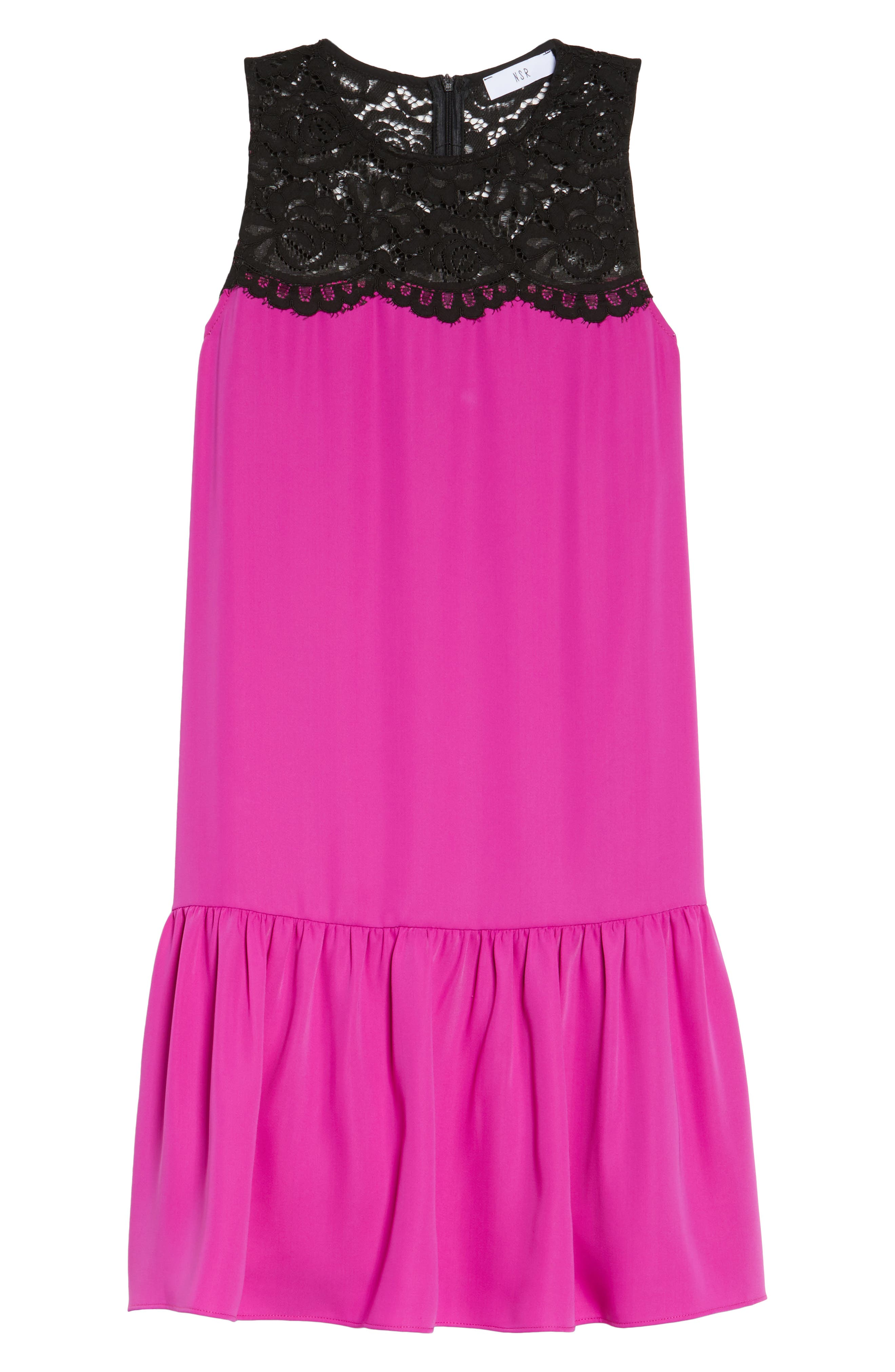 Lace & Crepe Shift Dress,                             Alternate thumbnail 12, color,