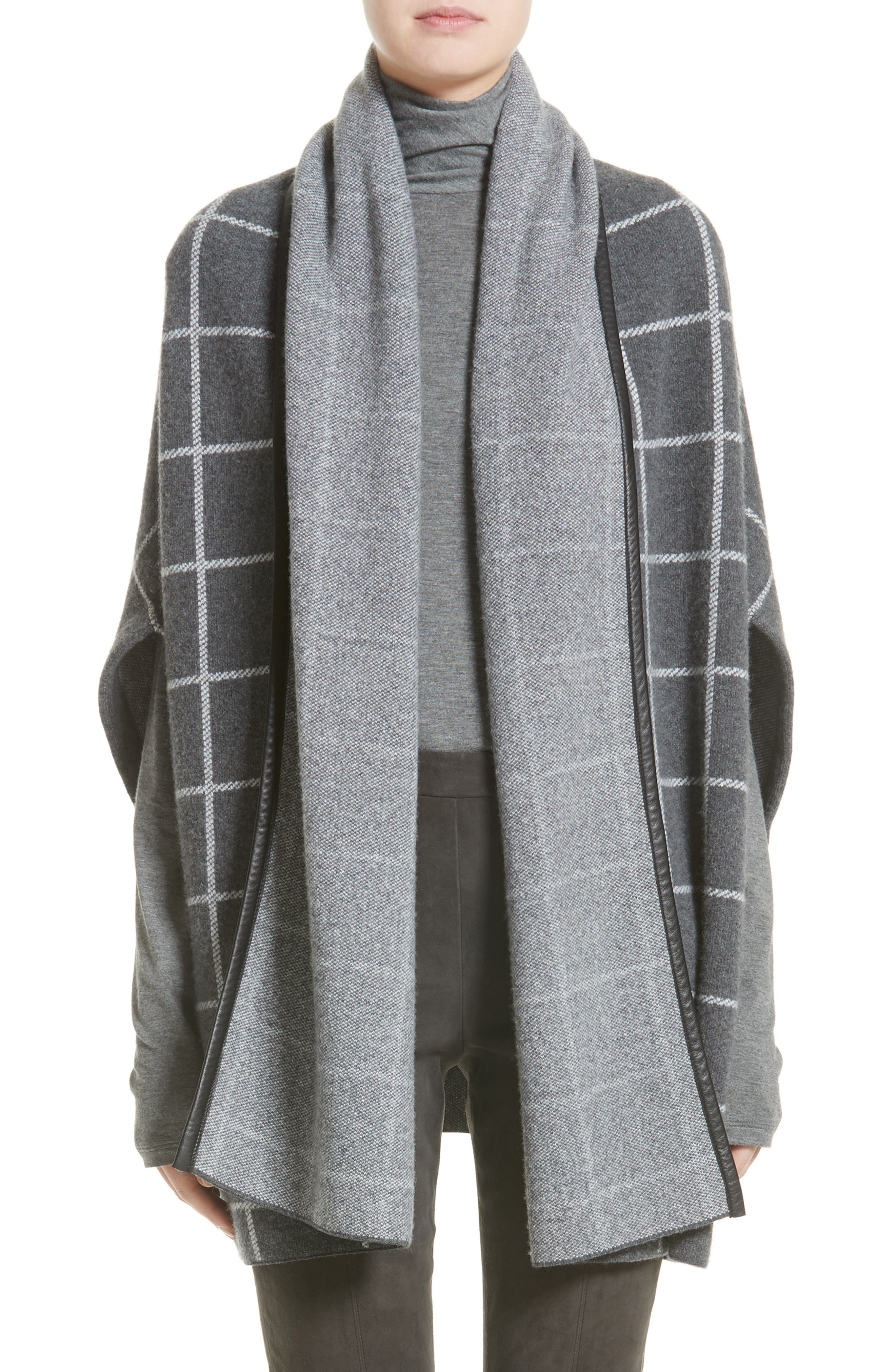 Leather Trim Windowpane Felted Wool Blend Cardigan,                         Main,                         color,