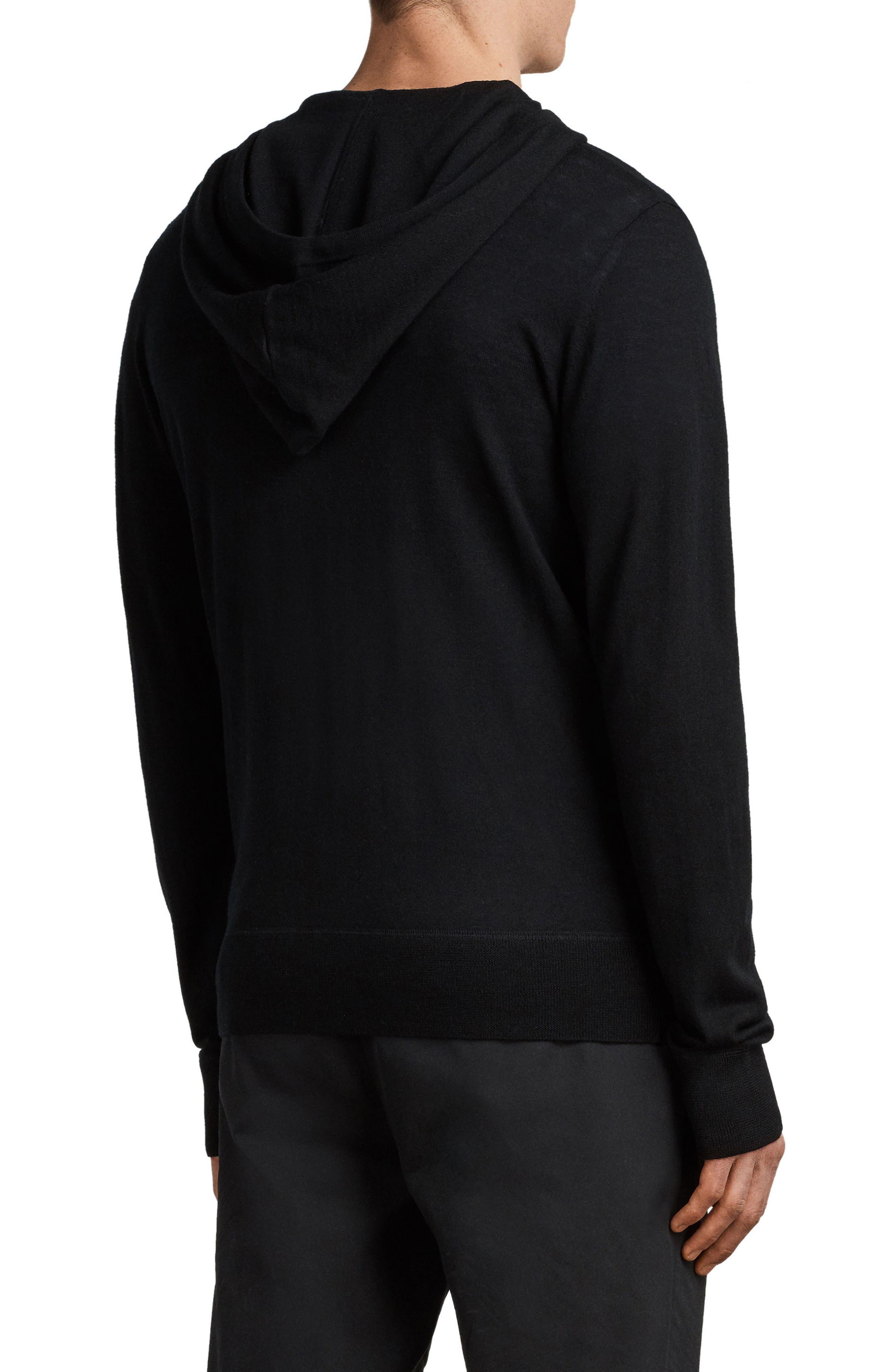 Mode Slim Fit Merino Wool Zip Hoodie,                             Alternate thumbnail 2, color,                             BLACK