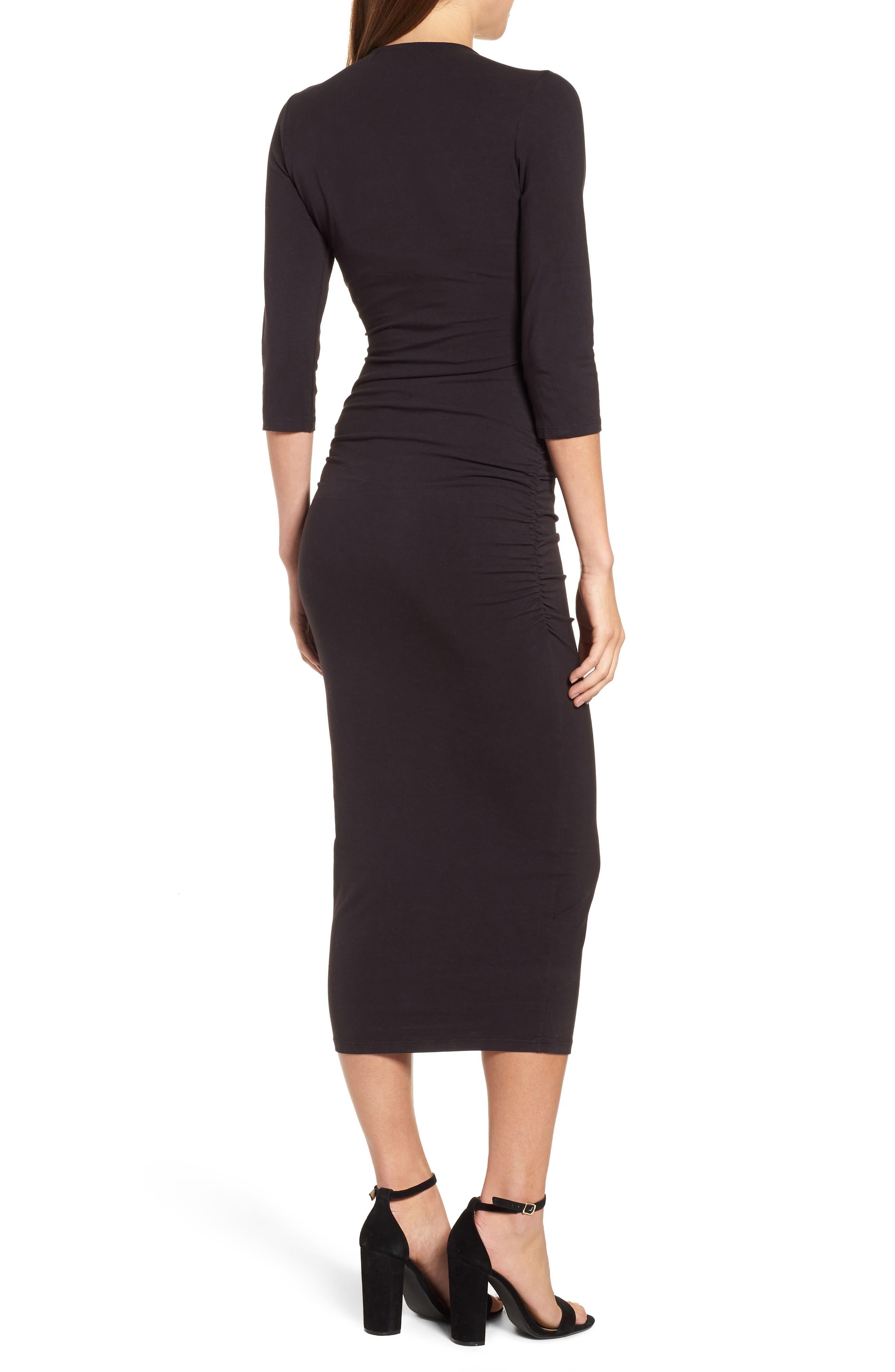 MICHAEL STARS,                             Ruched Surplice Stretch Cotton Body-Con Dress,                             Alternate thumbnail 2, color,                             001