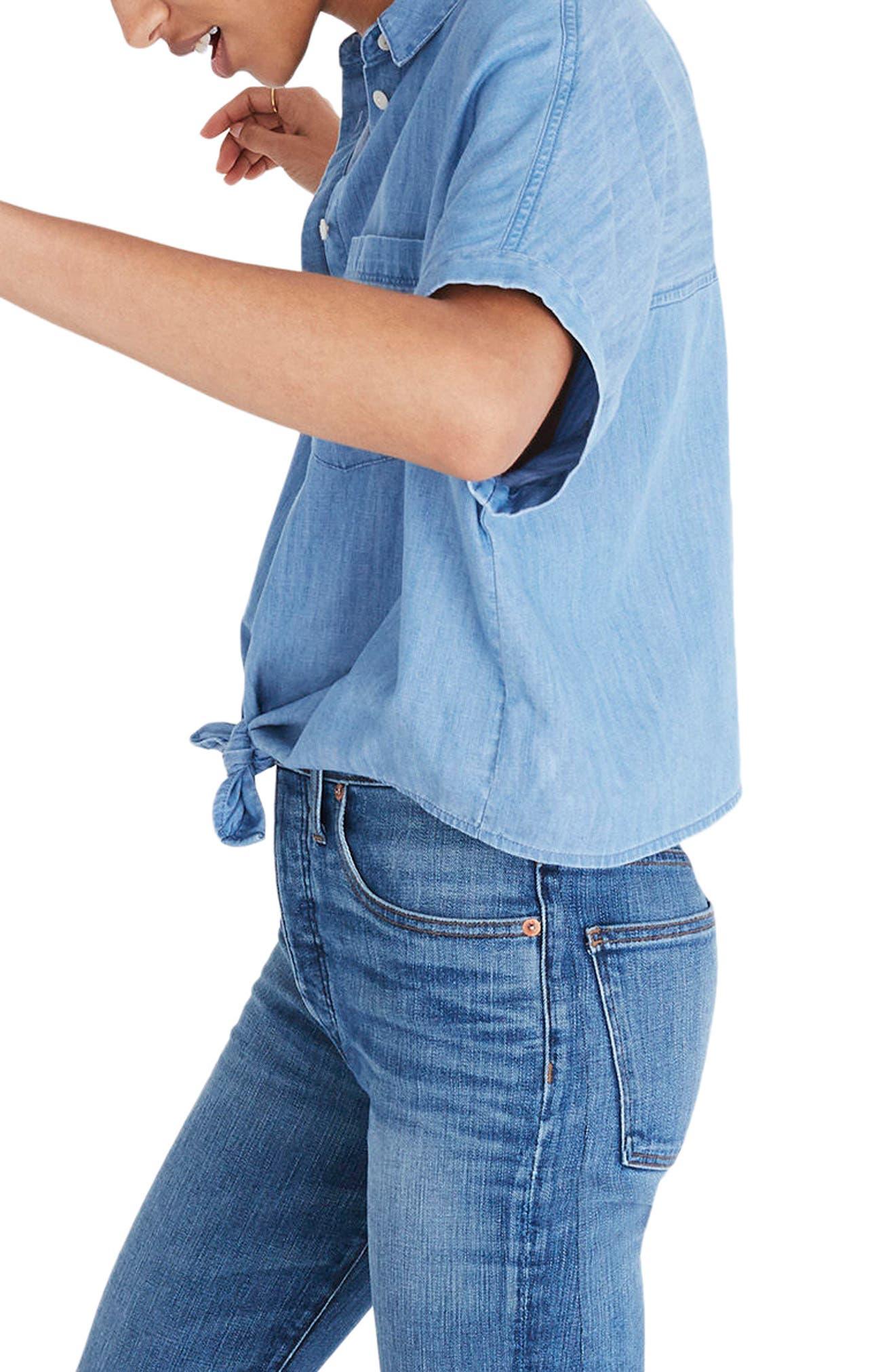 Tie Front Short Sleeve Denim Shirt,                             Alternate thumbnail 3, color,                             400