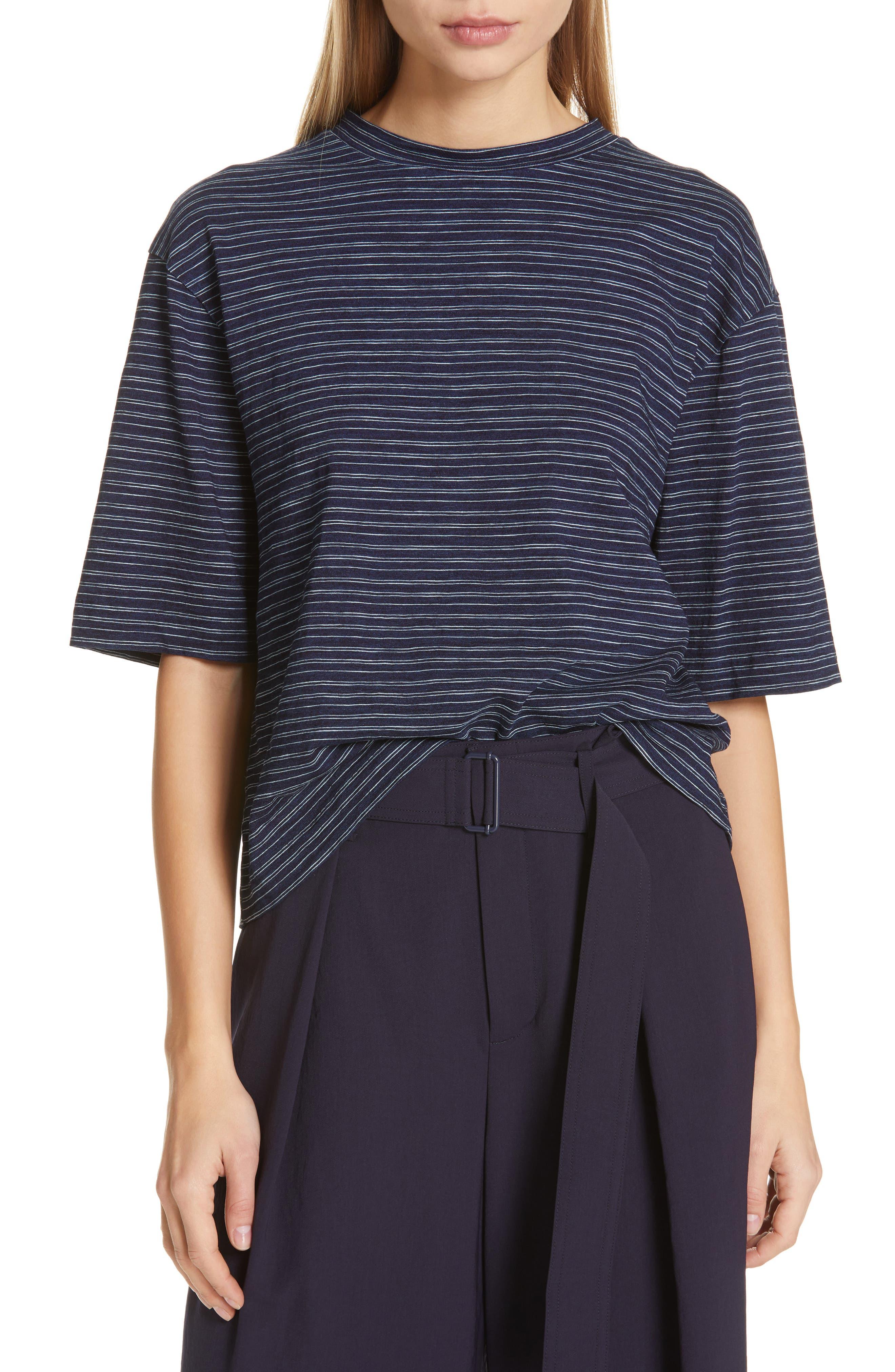 Indigo Stripe Wide Sleeve Tee, Main, color, INDIGO/ OFF WHITE