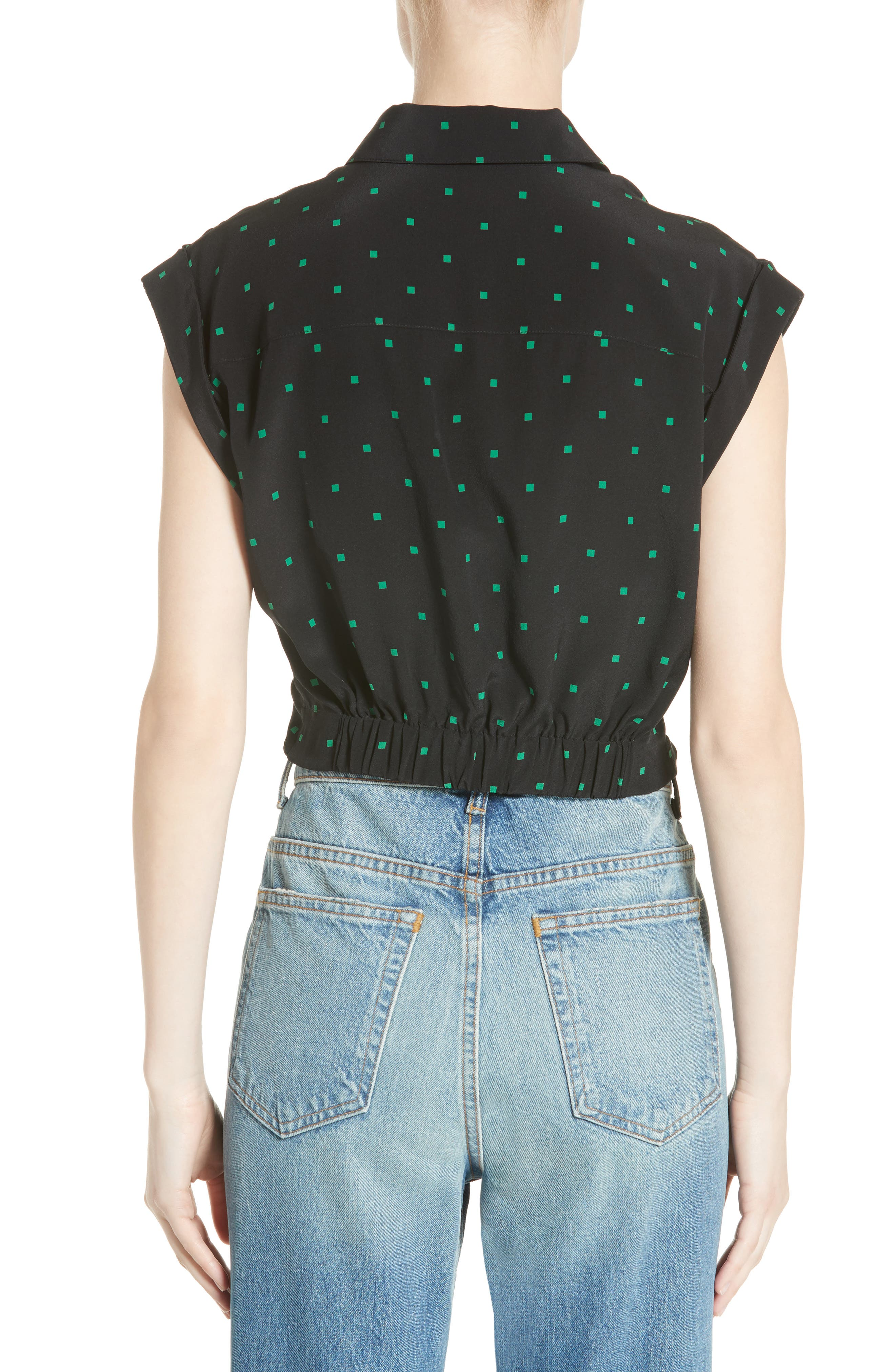 Knotted Print Silk Crop Top,                             Alternate thumbnail 2, color,                             002