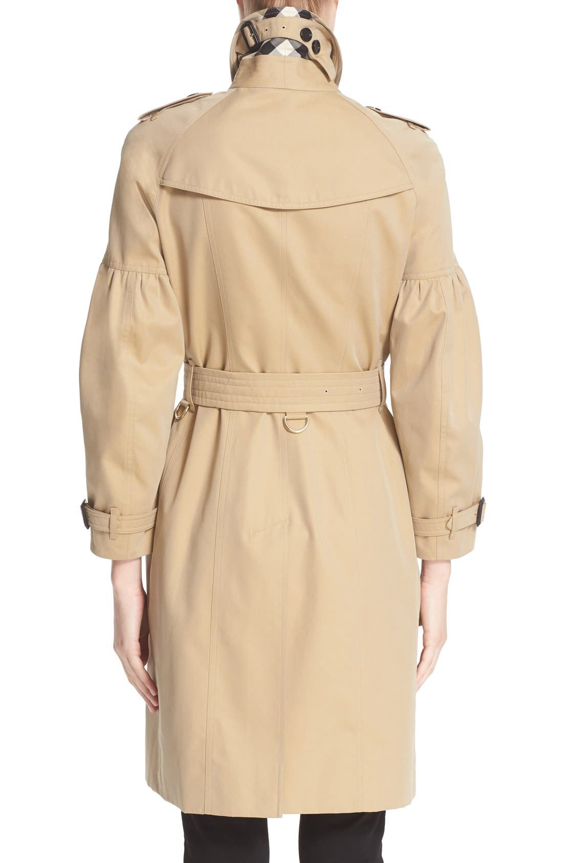 BURBERRY,                             Redhill Puff Sleeve Cotton Trench,                             Alternate thumbnail 4, color,                             250