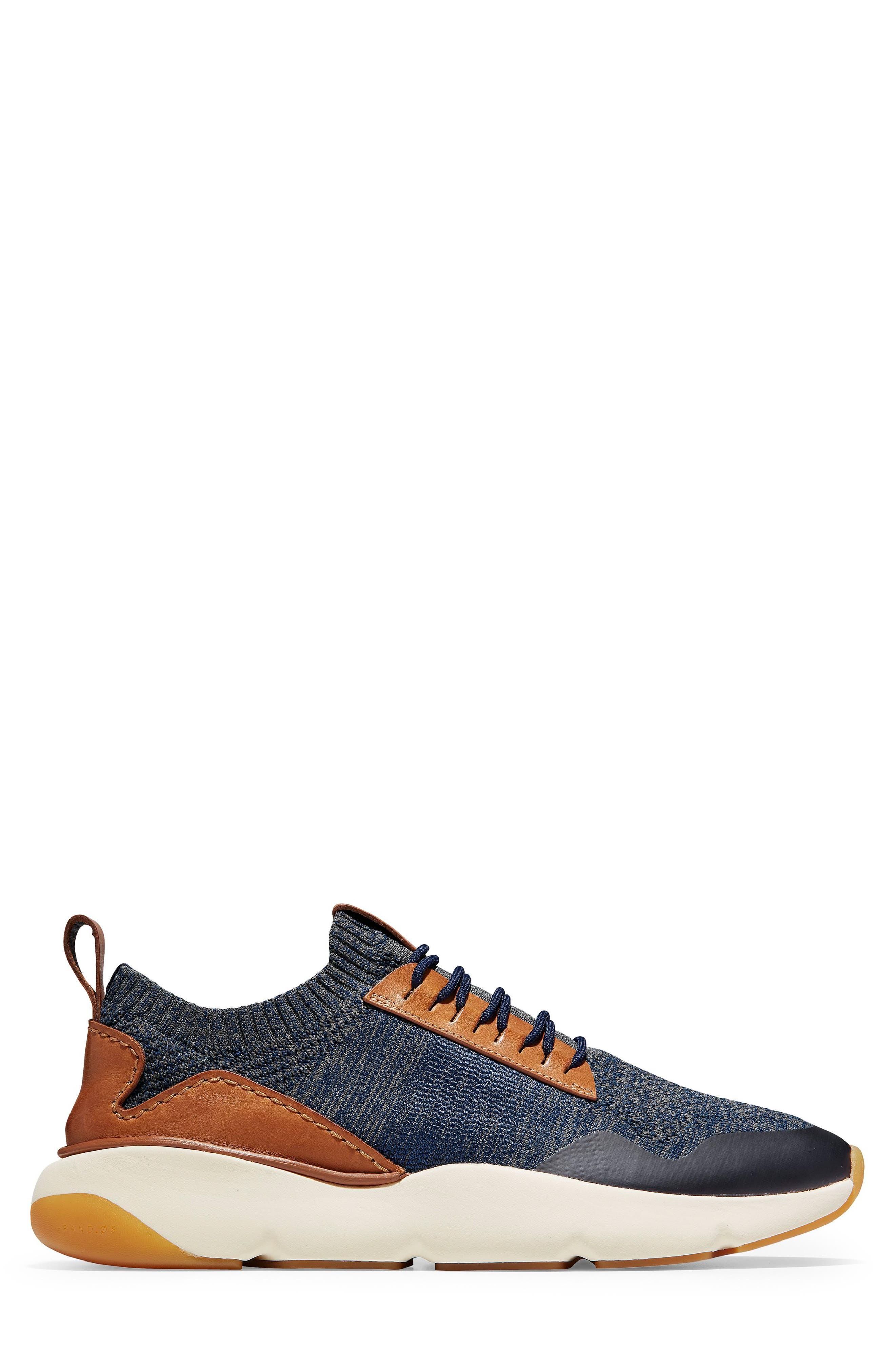 ZeroGrand All-Day Trainer Sneaker,                             Alternate thumbnail 3, color,                             MARINE BLUE/ TAN KNIT