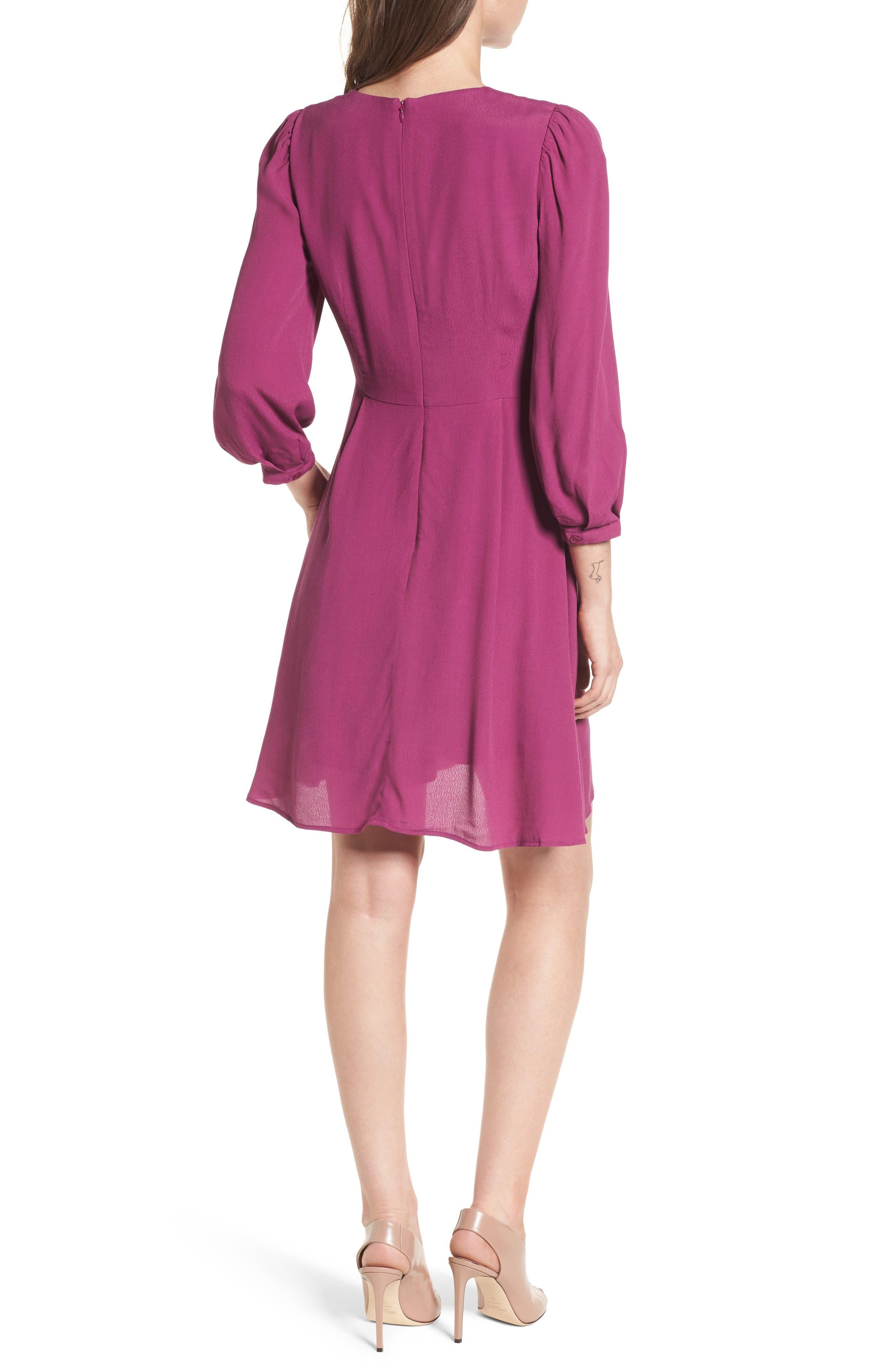 V-Neck Puff Sleeve Dress,                             Alternate thumbnail 2, color,                             510