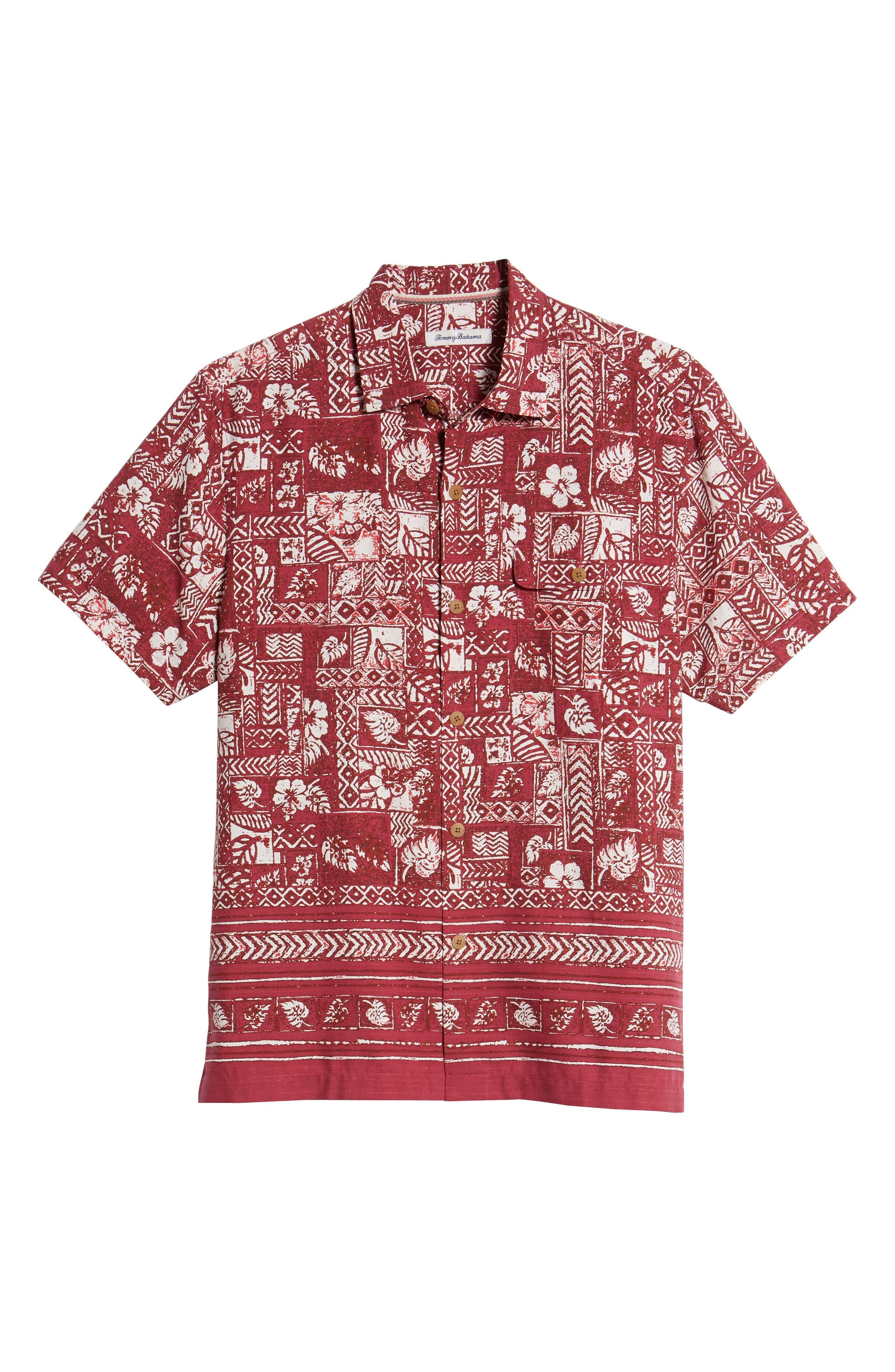 Veracruz Border Tiles Silk Blend Camp Shirt,                             Alternate thumbnail 6, color,                             600