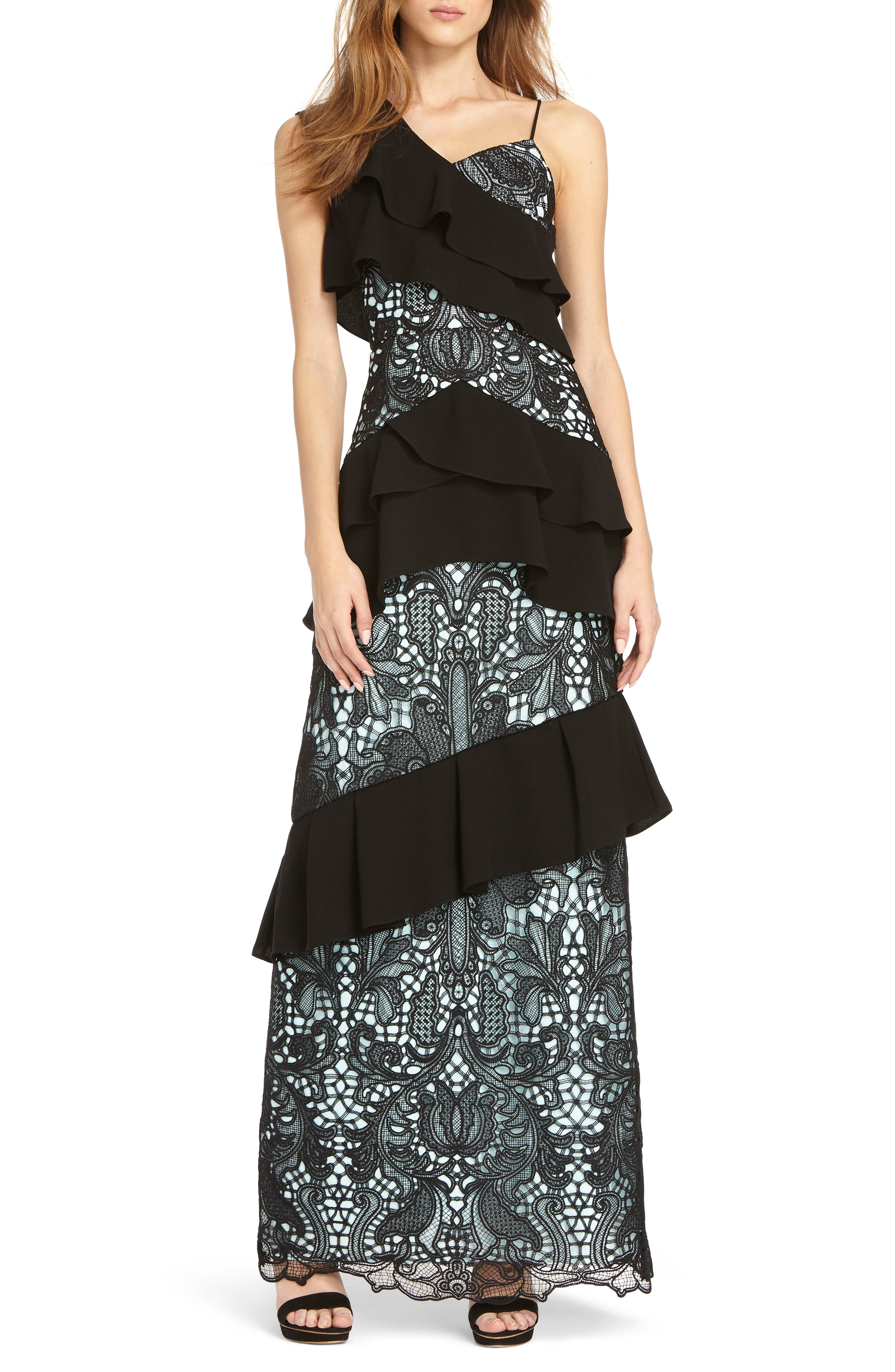 Crepe & Lace Mixed Gown,                         Main,                         color, SKY BLACK