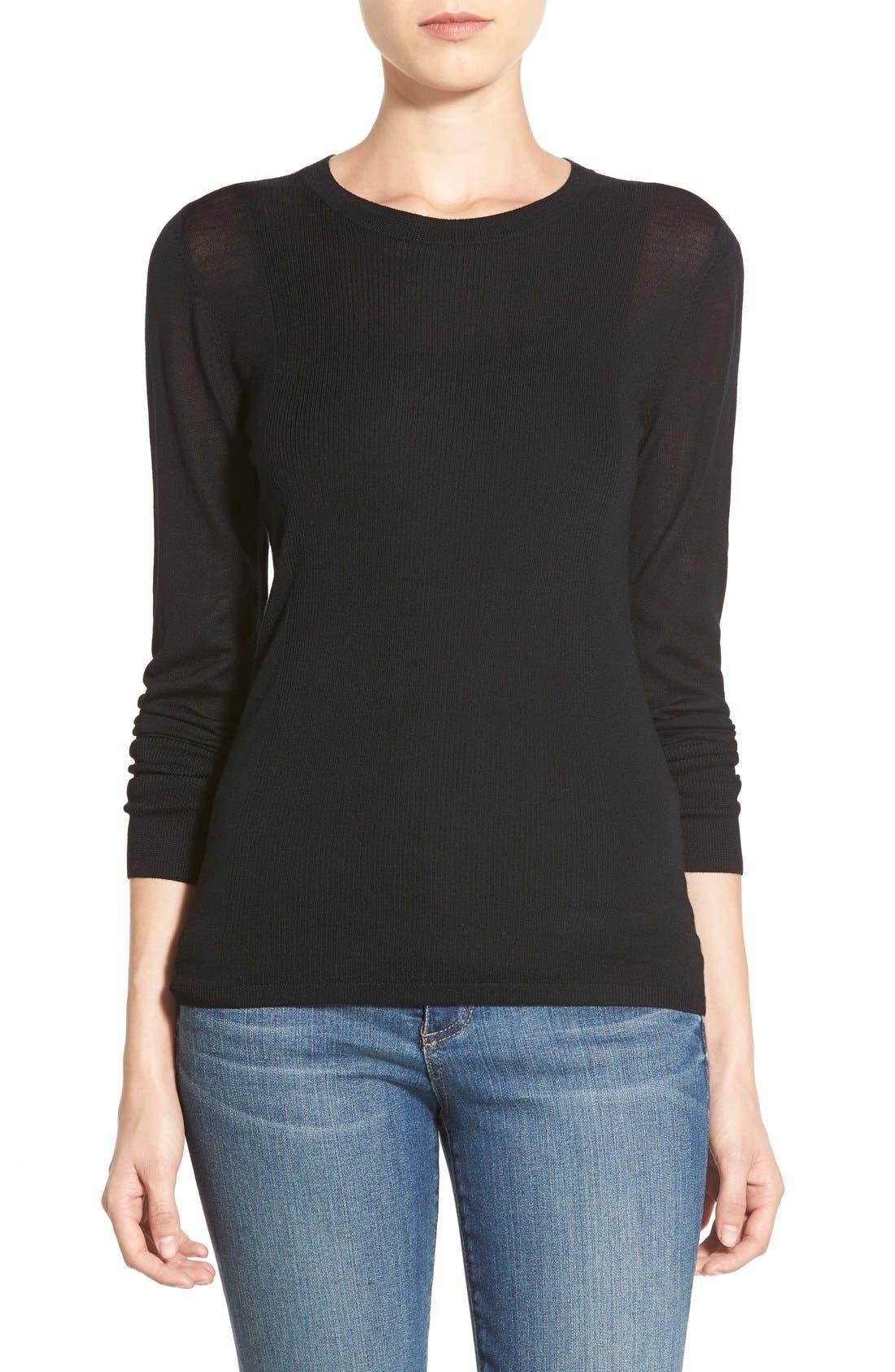 HALOGEN<SUP>®</SUP>,                             Rib Detail Lightweight Merino Wool Sweater,                             Main thumbnail 1, color,                             001