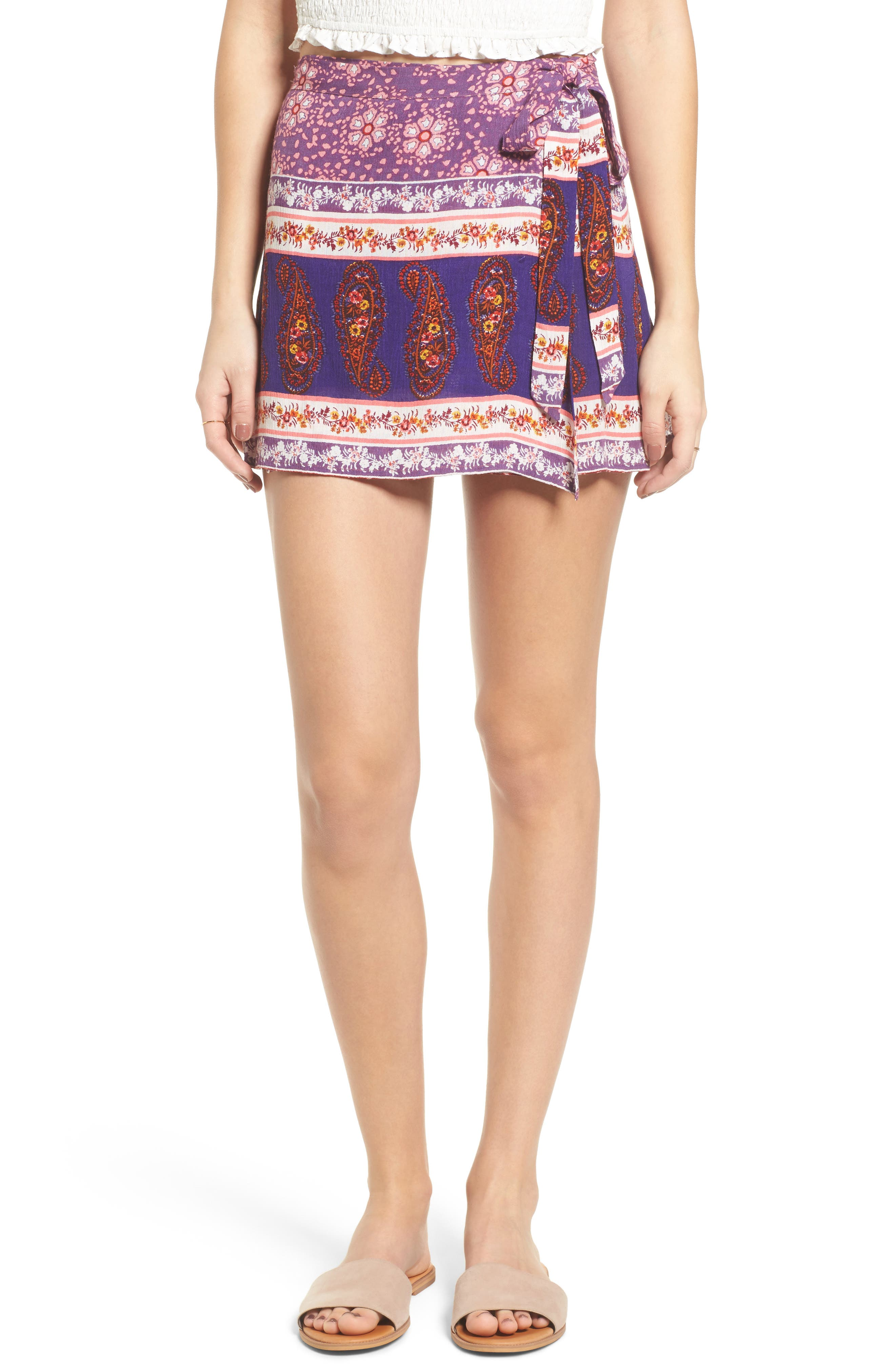 Dana Floral Wrap Skirt,                             Main thumbnail 1, color,                             500